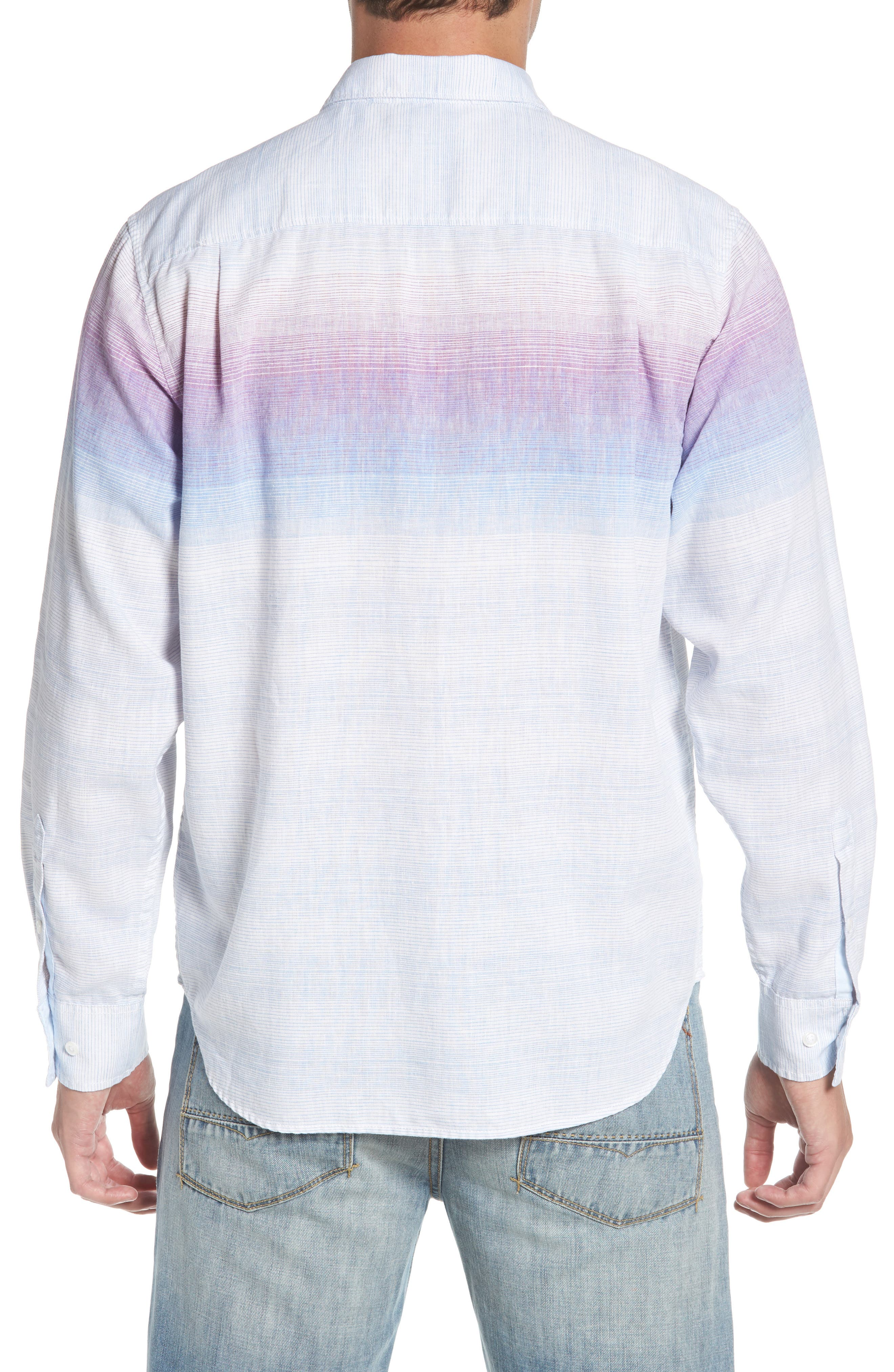 Sunset Ombré Linen Blend Sport Shirt,                             Alternate thumbnail 2, color,                             100