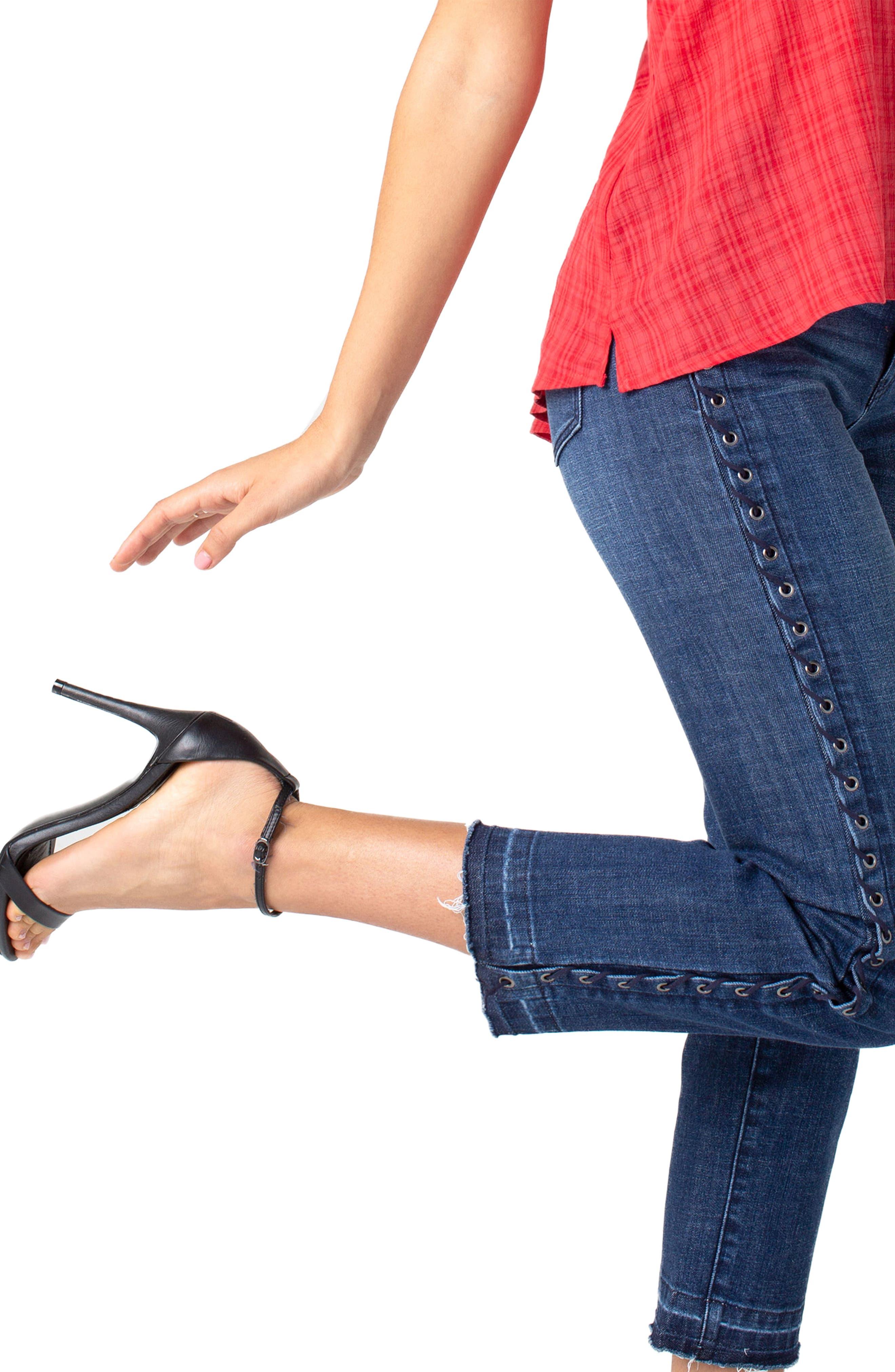 LIVERPOOL,                             Sadie Grommet High Waist Crop Straight Leg Jeans,                             Alternate thumbnail 5, color,                             MONTAUK MID BLUE
