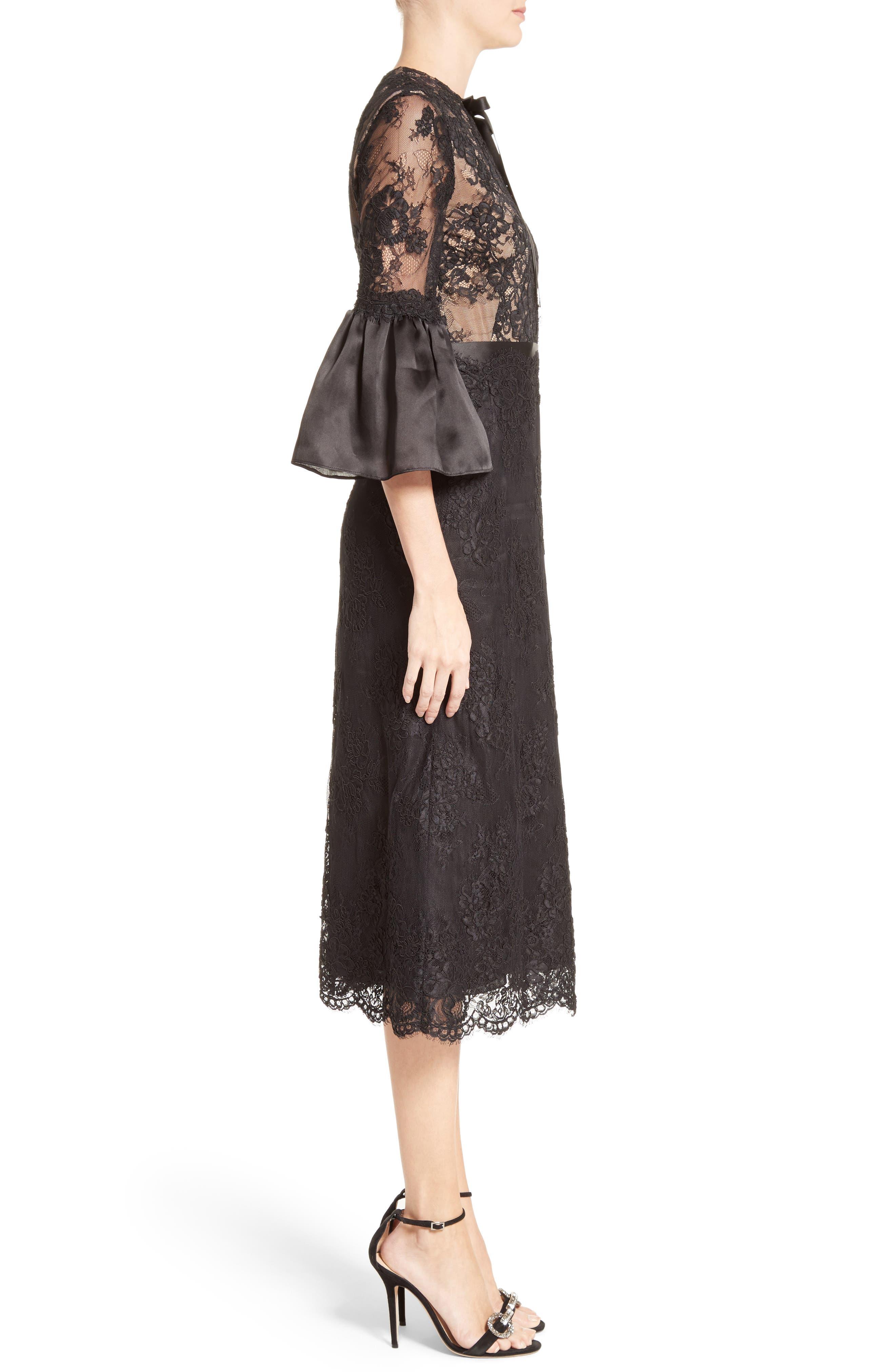 Bell Sleeve Lace Midi Dress,                             Alternate thumbnail 3, color,                             001