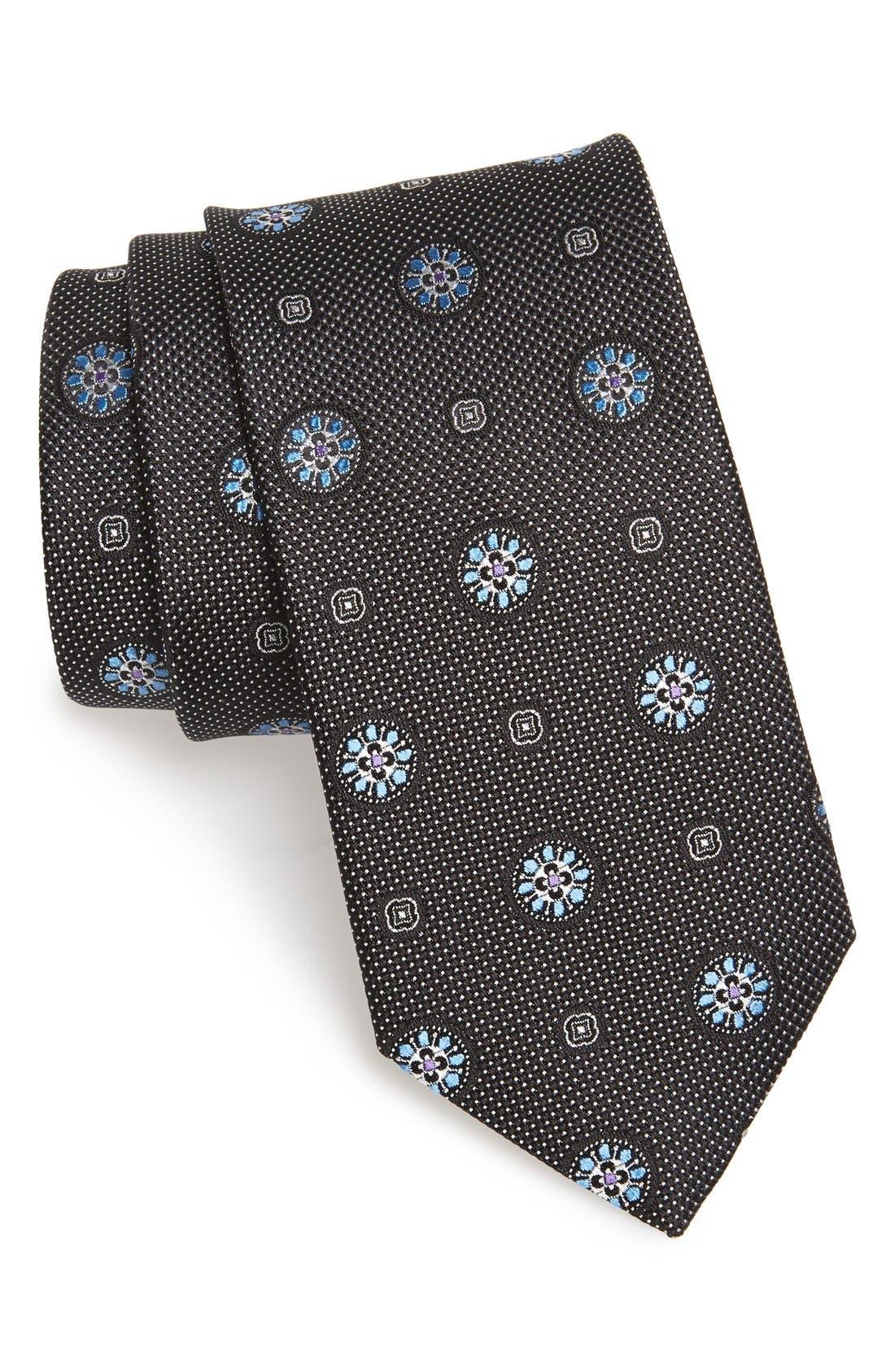 Medallion Silk Tie,                             Main thumbnail 1, color,                             001
