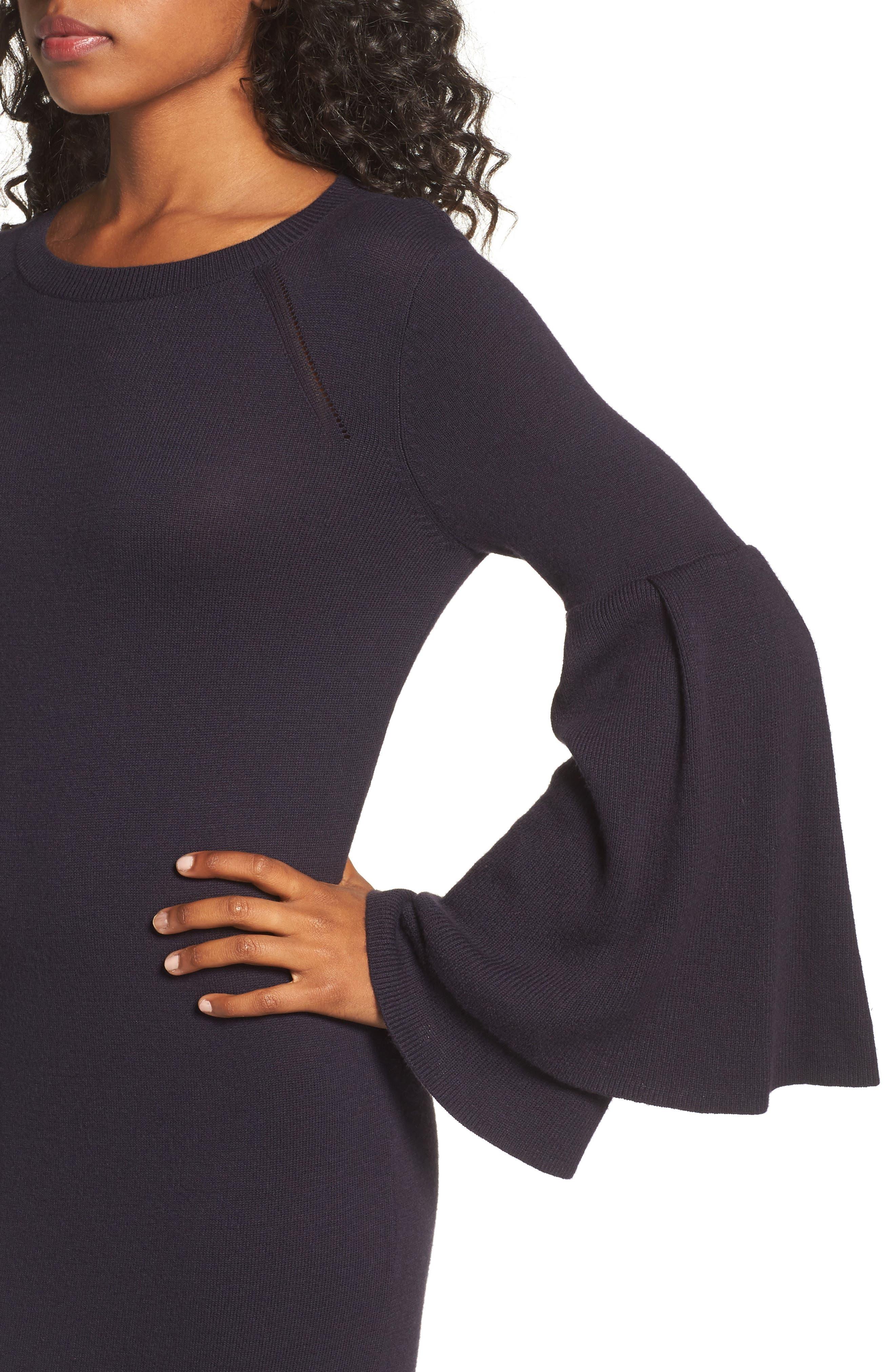 Bell Sleeve Sweater Dress,                             Alternate thumbnail 4, color,                             400