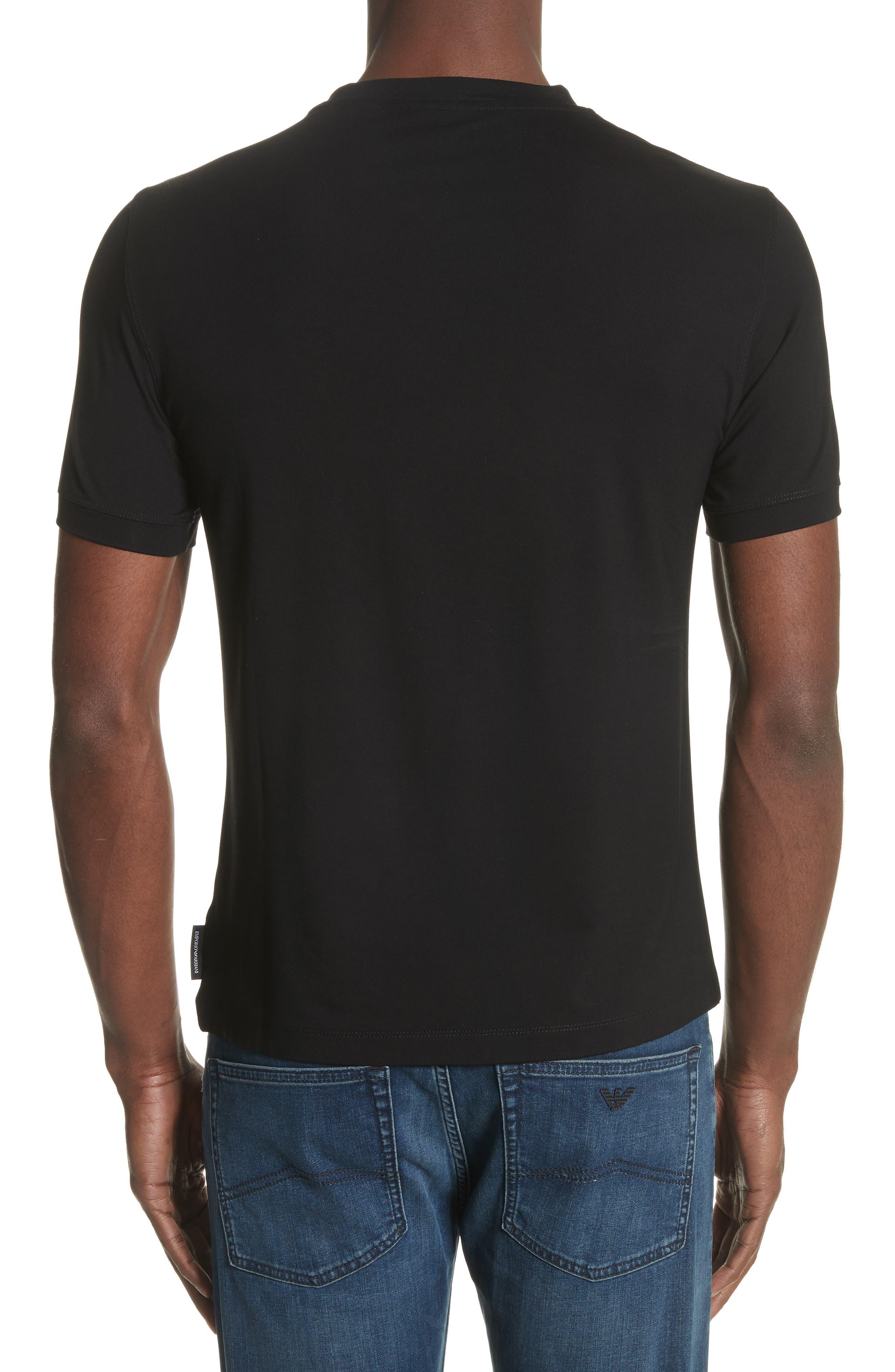 Slim Fit Stretch Crewneck T-Shirt,                             Alternate thumbnail 2, color,                             SOLID BLACK