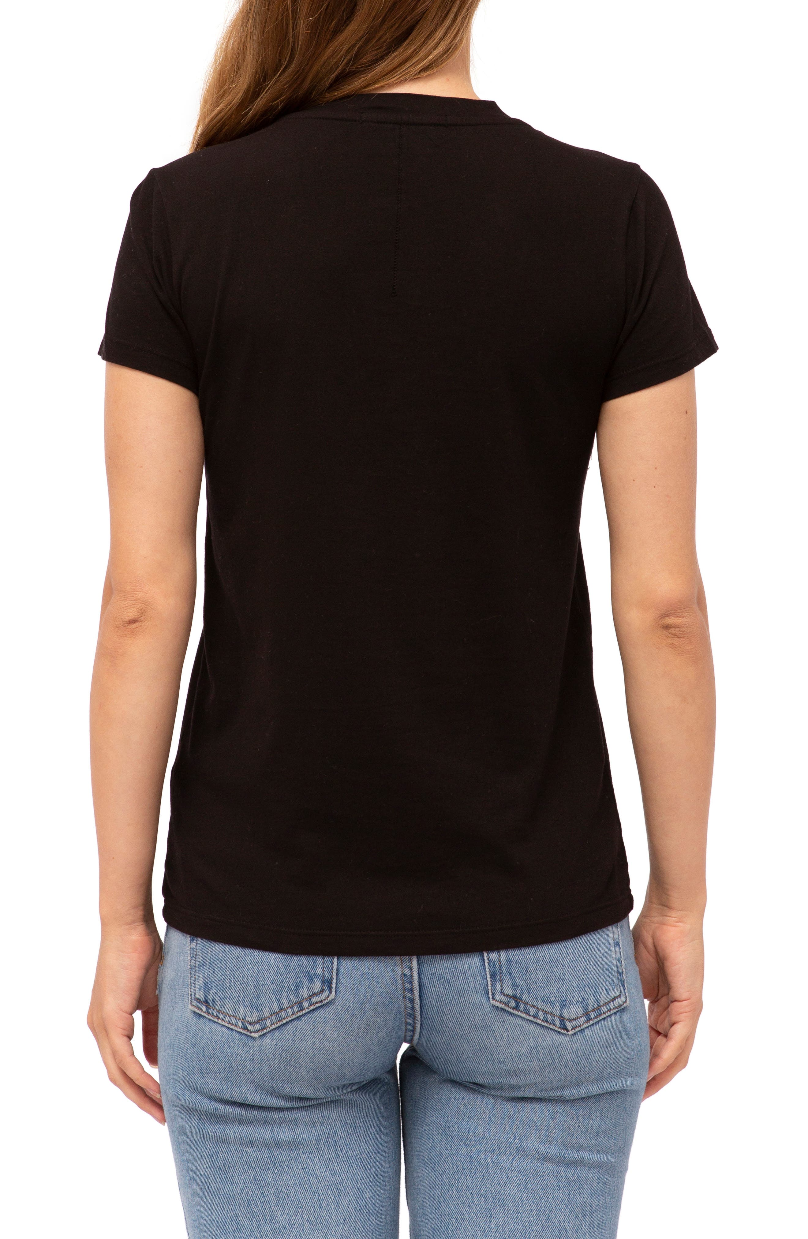 Brushed V-Neck Tee,                             Alternate thumbnail 2, color,                             BLACK