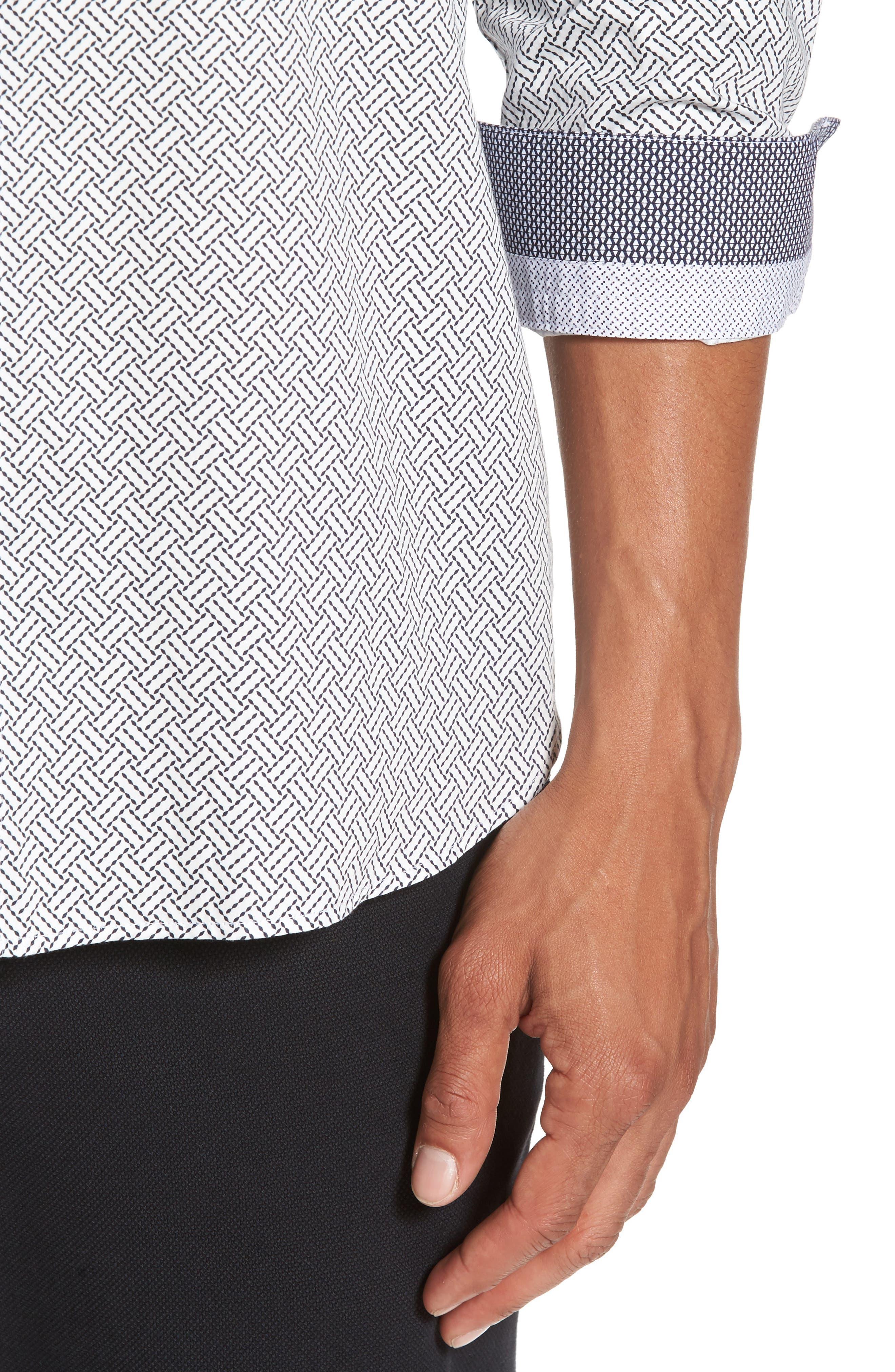 Larosh Slim Fit Basket Weave Print Sport Shirt,                             Alternate thumbnail 4, color,                             110