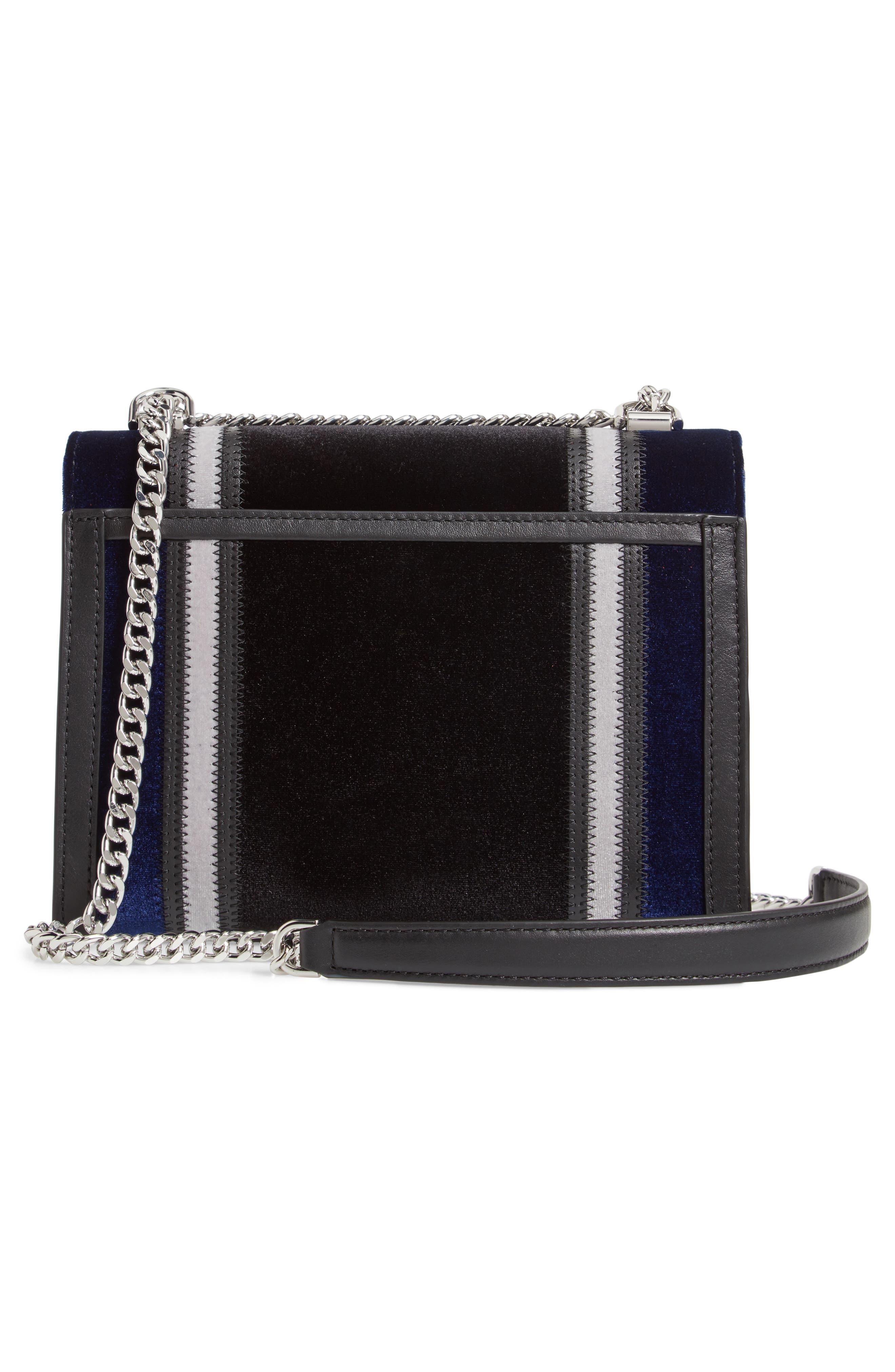 Large Velvet Shoulder Bag,                             Alternate thumbnail 3, color,                             BLACK/ DARK BLUE