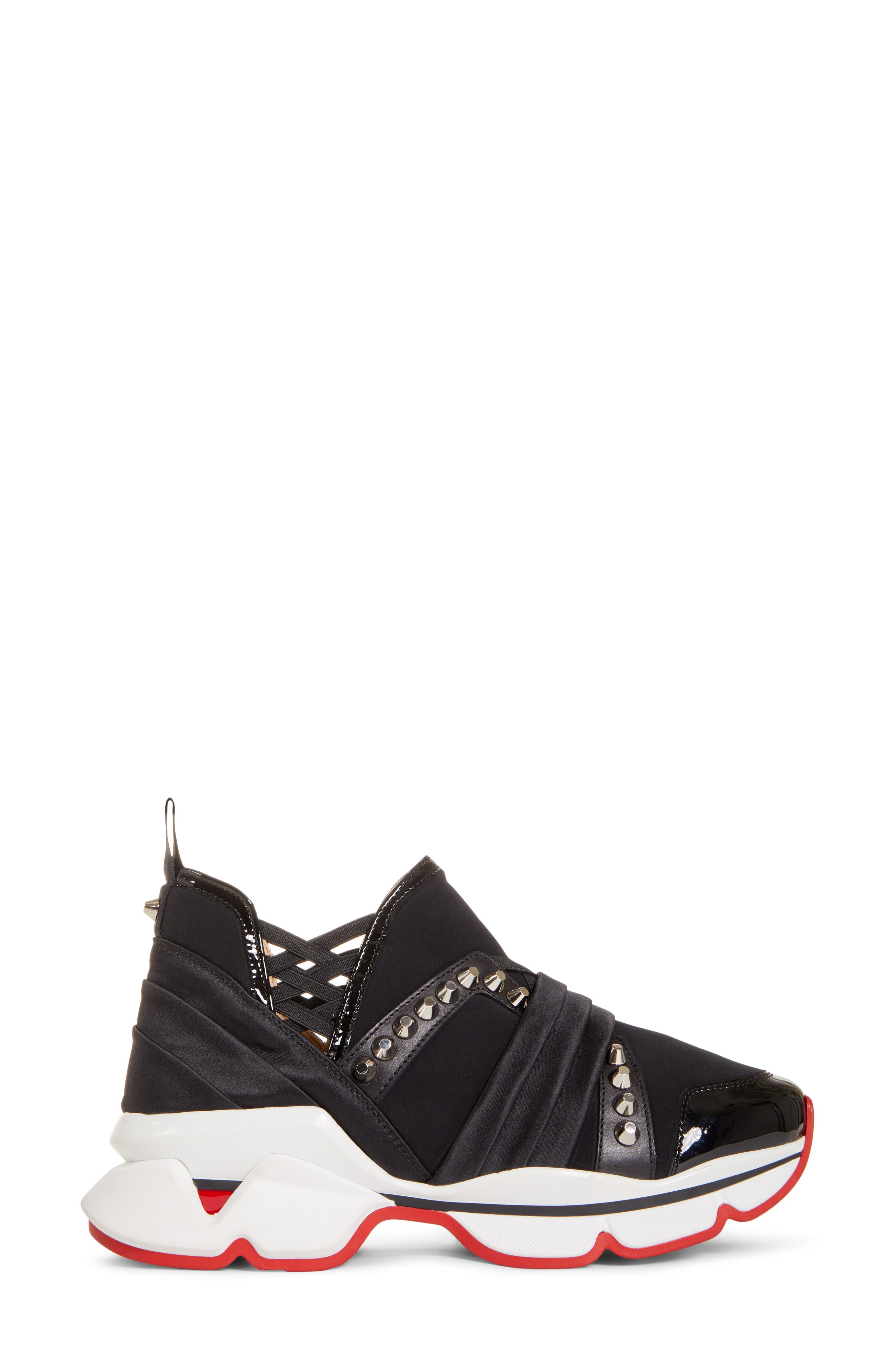 CHRISTIAN LOUBOUTIN,                             Run Slip-On Sneaker,                             Alternate thumbnail 3, color,                             BLACK