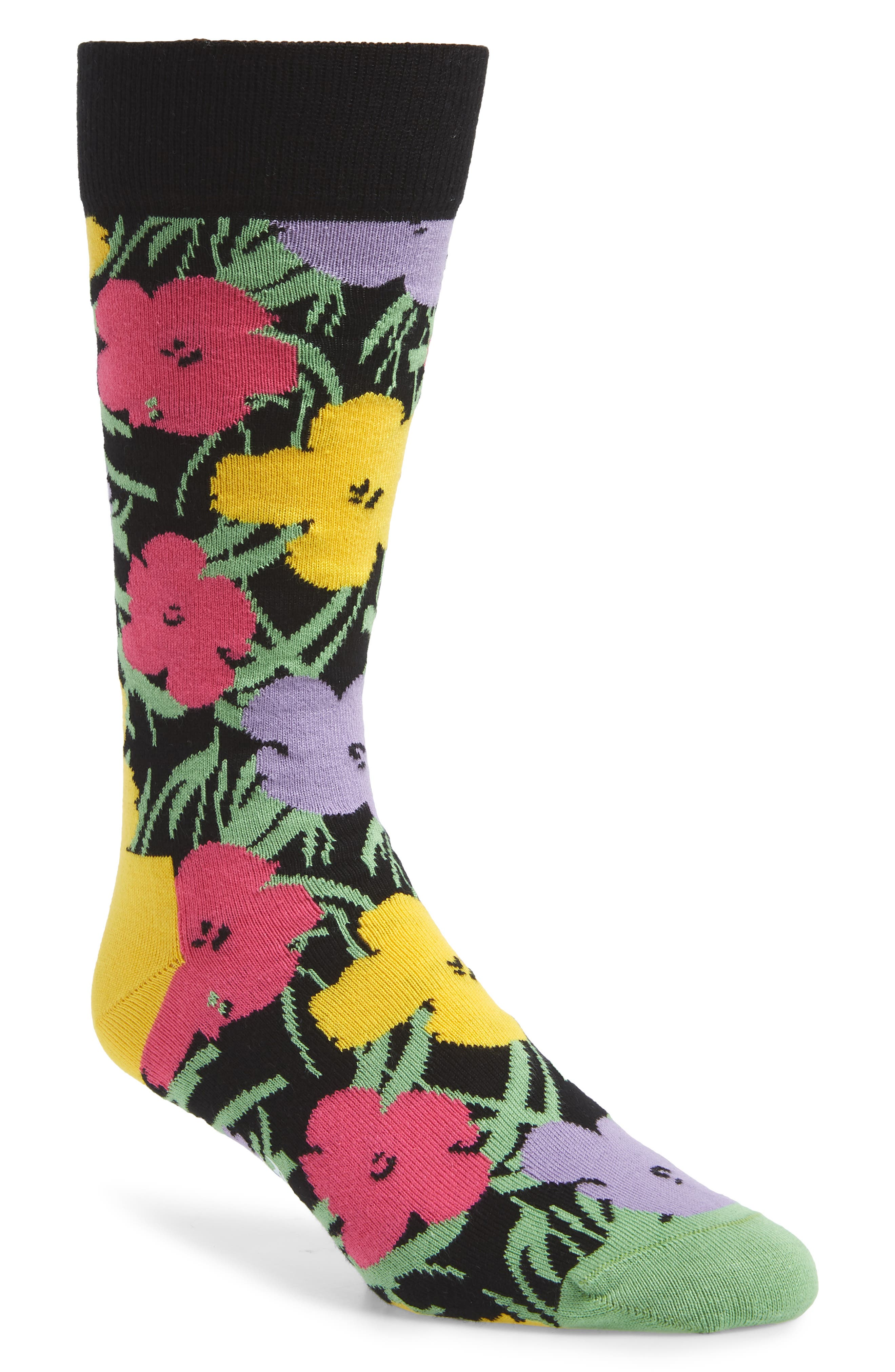 Andy Warhol Flower Socks,                         Main,                         color, PINK