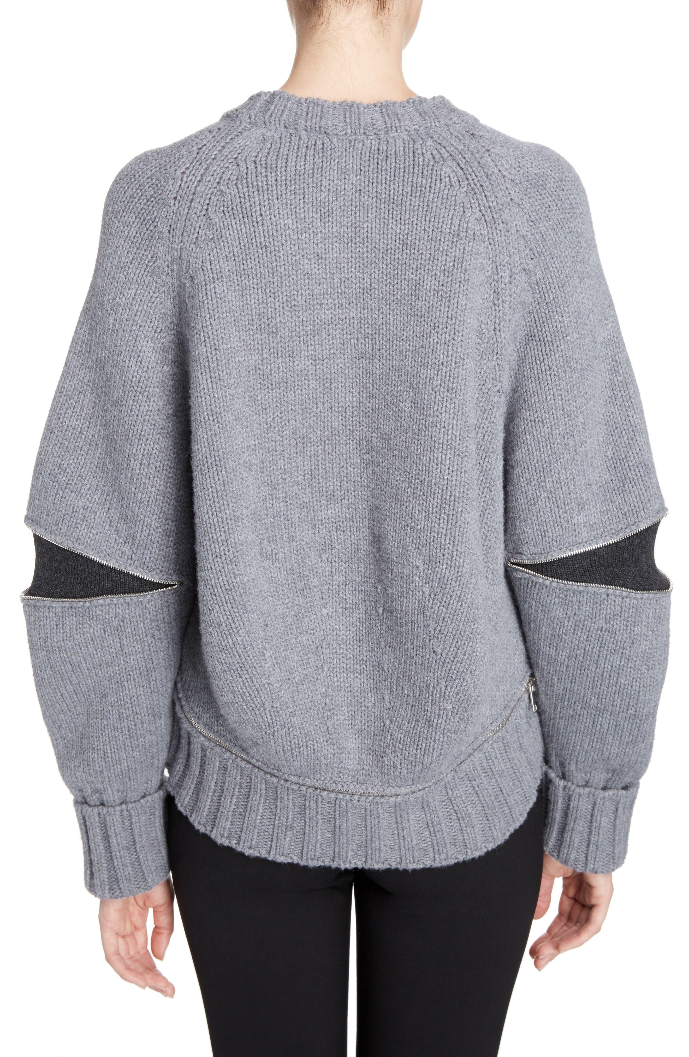 Zip Sleeve Wool Argyle Sweater,                             Alternate thumbnail 2, color,                             027