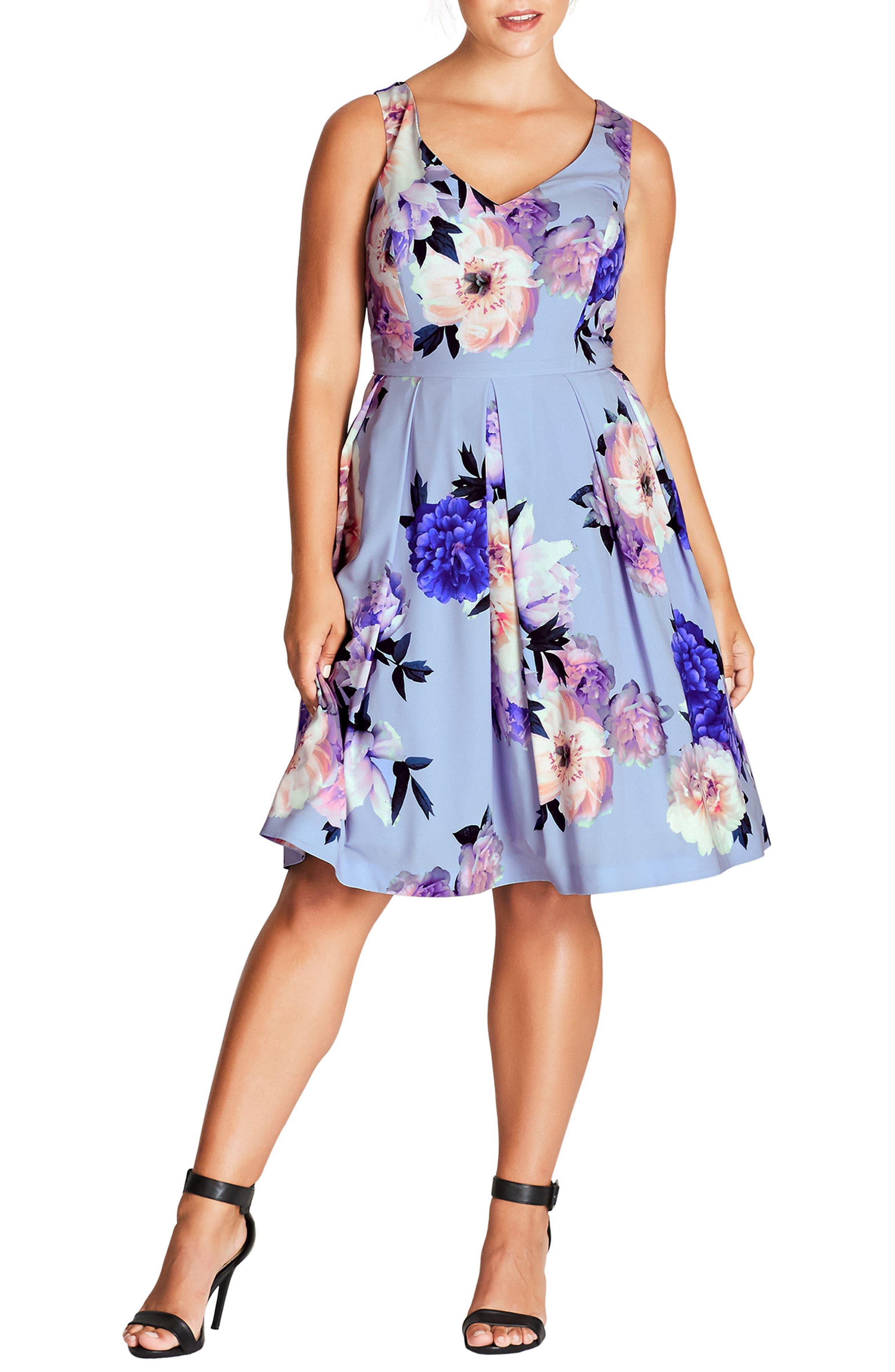 Soft Blues Fit & Flare Dress,                             Main thumbnail 1, color,                             SOFT BLUES