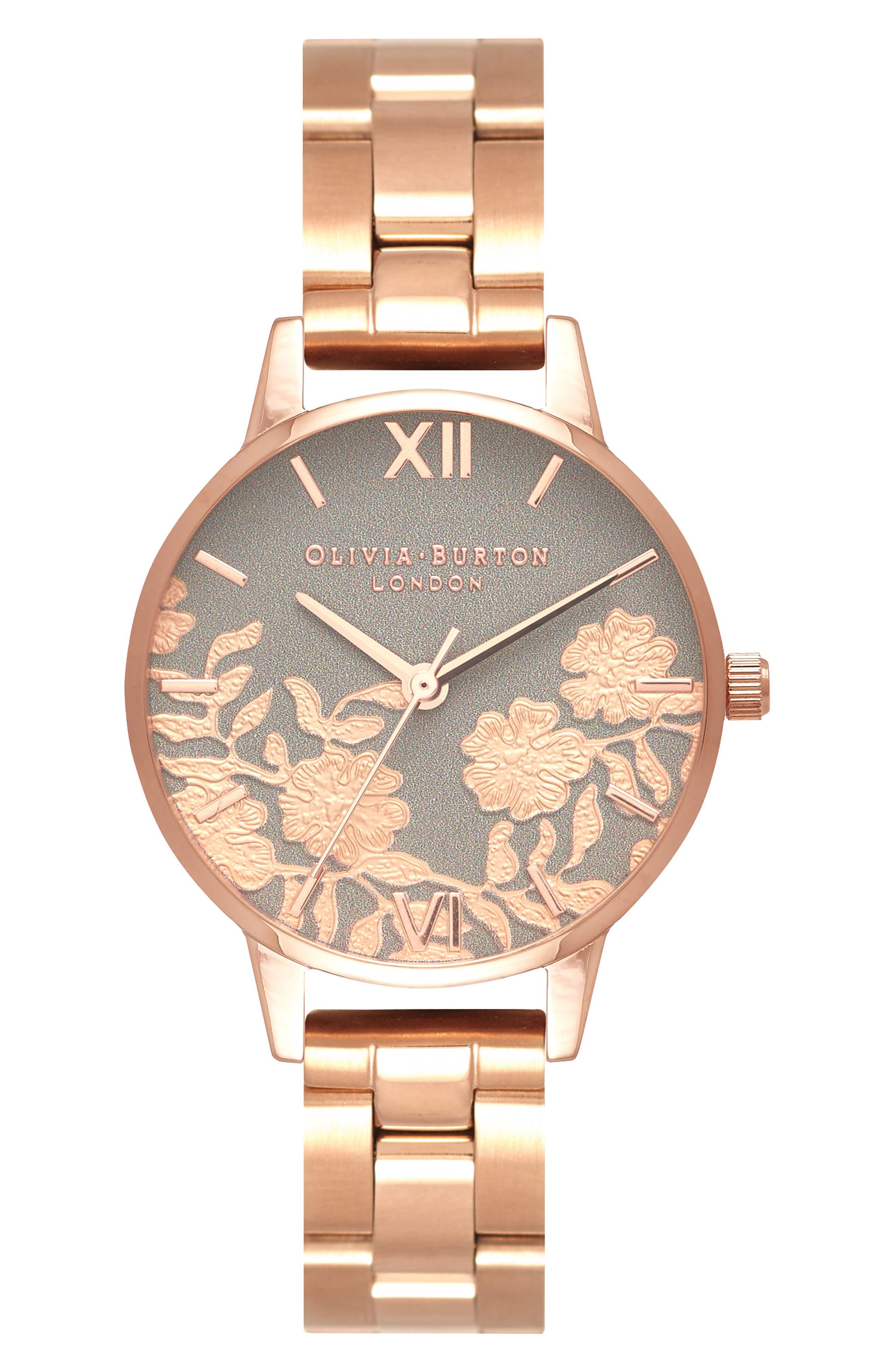 Lace Detail Bracelet Watch, 30mm,                             Main thumbnail 1, color,                             ROSE GOLD
