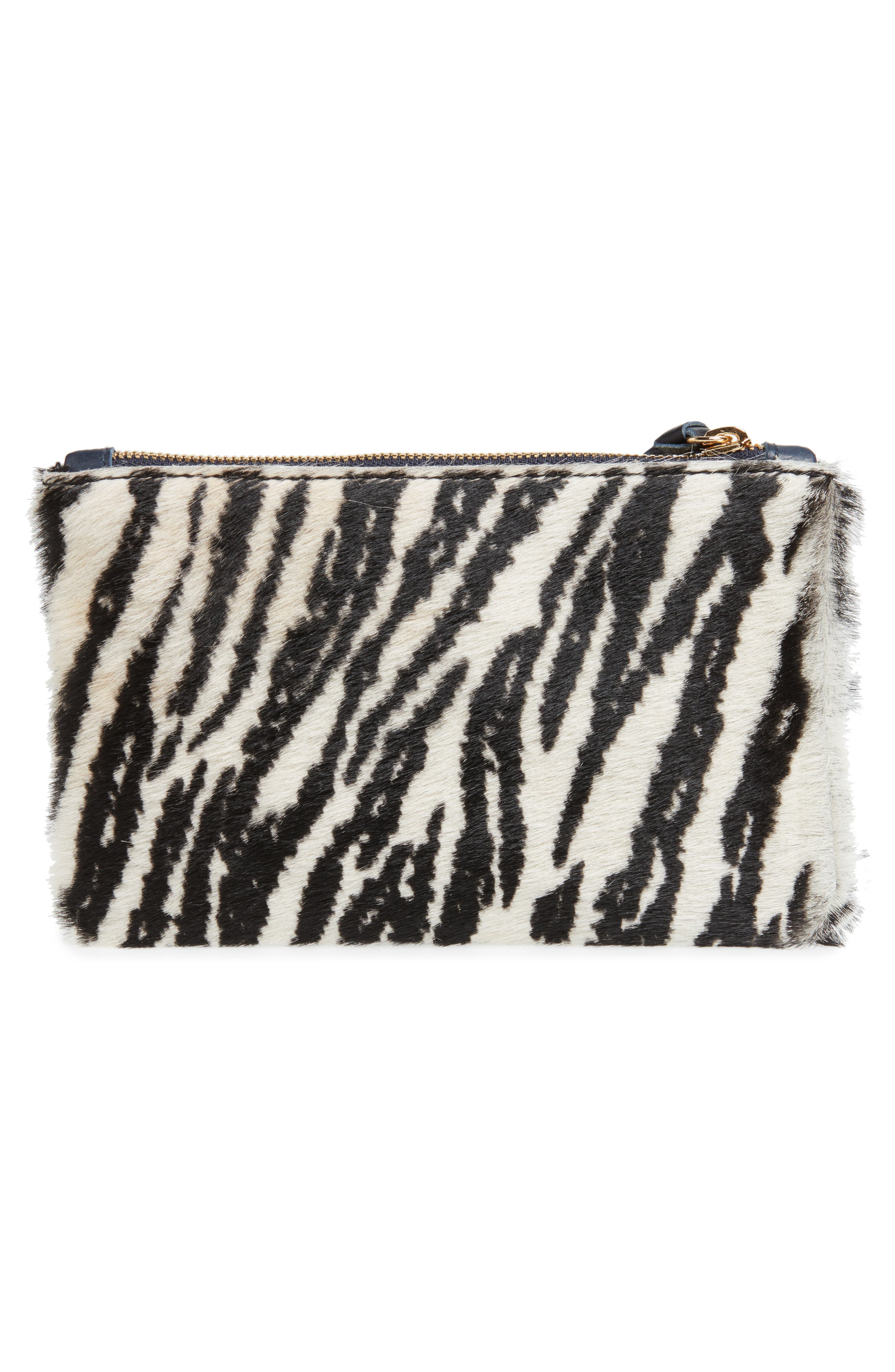 Zebra Print Genuine Calf Hair Pouch,                             Alternate thumbnail 3, color,                             900
