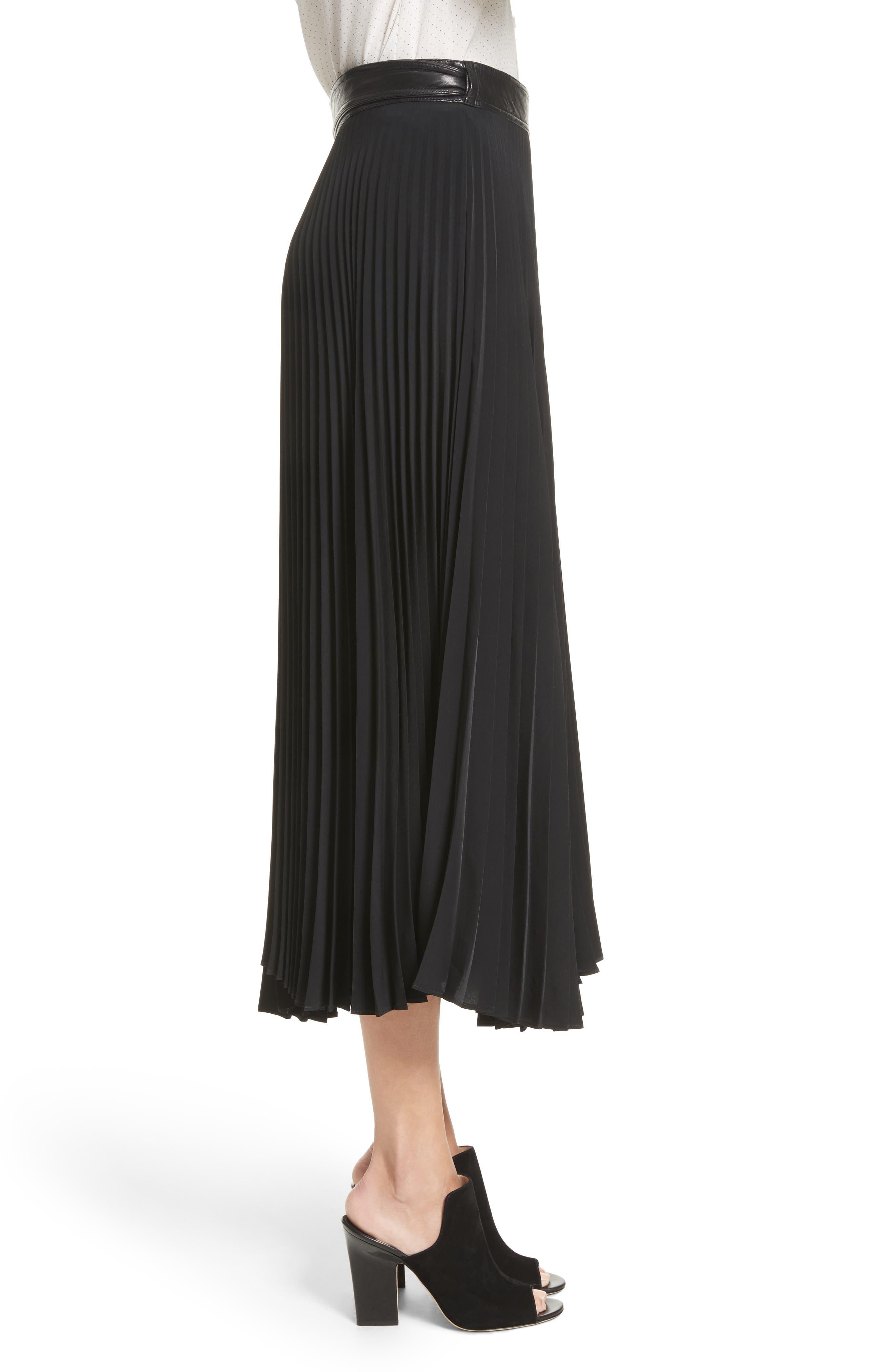 Anika Leather Trim Pleated Midi Skirt,                             Alternate thumbnail 3, color,                             001