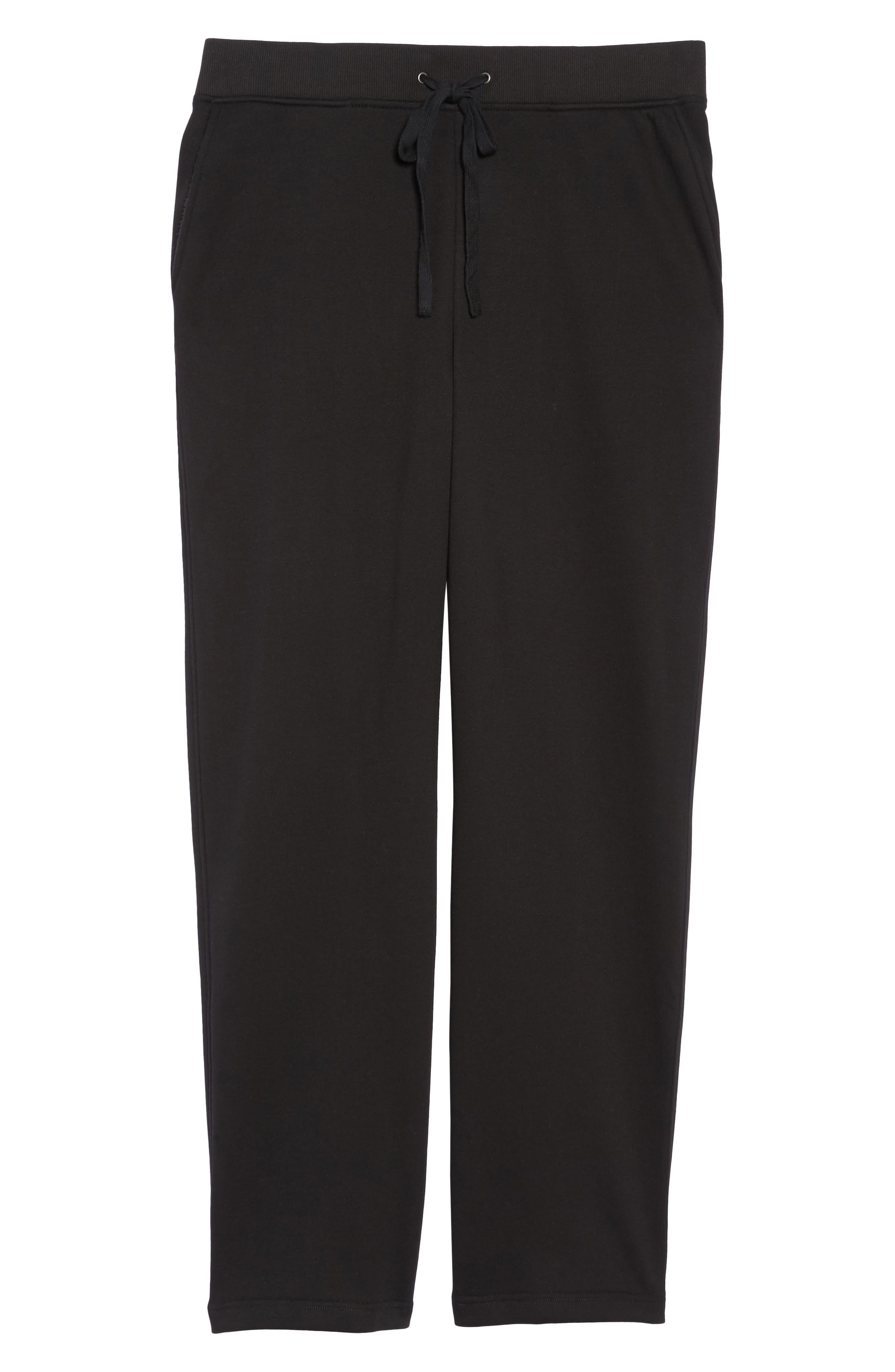 Penny Fleece Sweatpants,                             Alternate thumbnail 6, color,                             BLACK