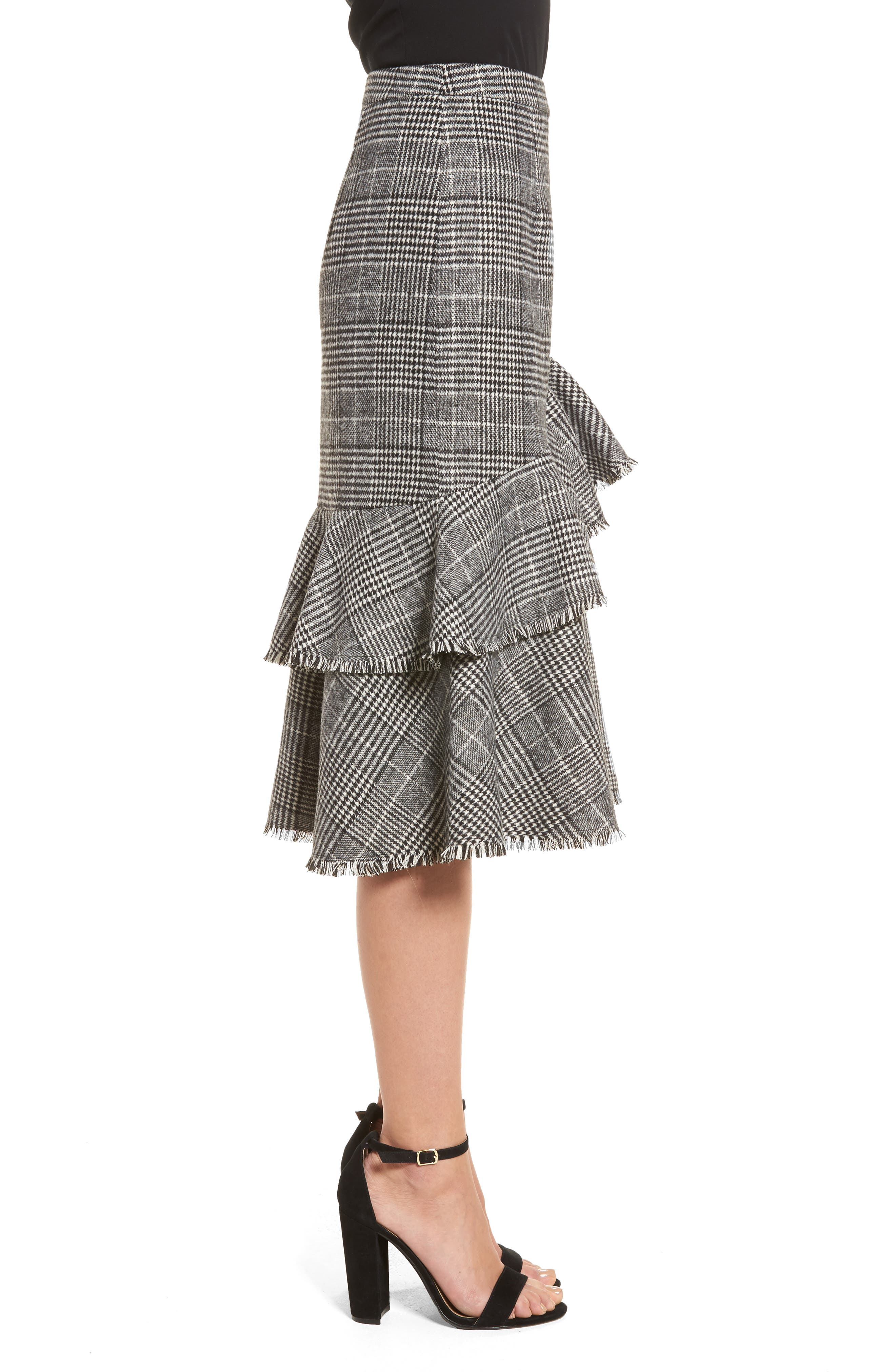 Ruffle Plaid Skirt,                             Alternate thumbnail 3, color,                             001