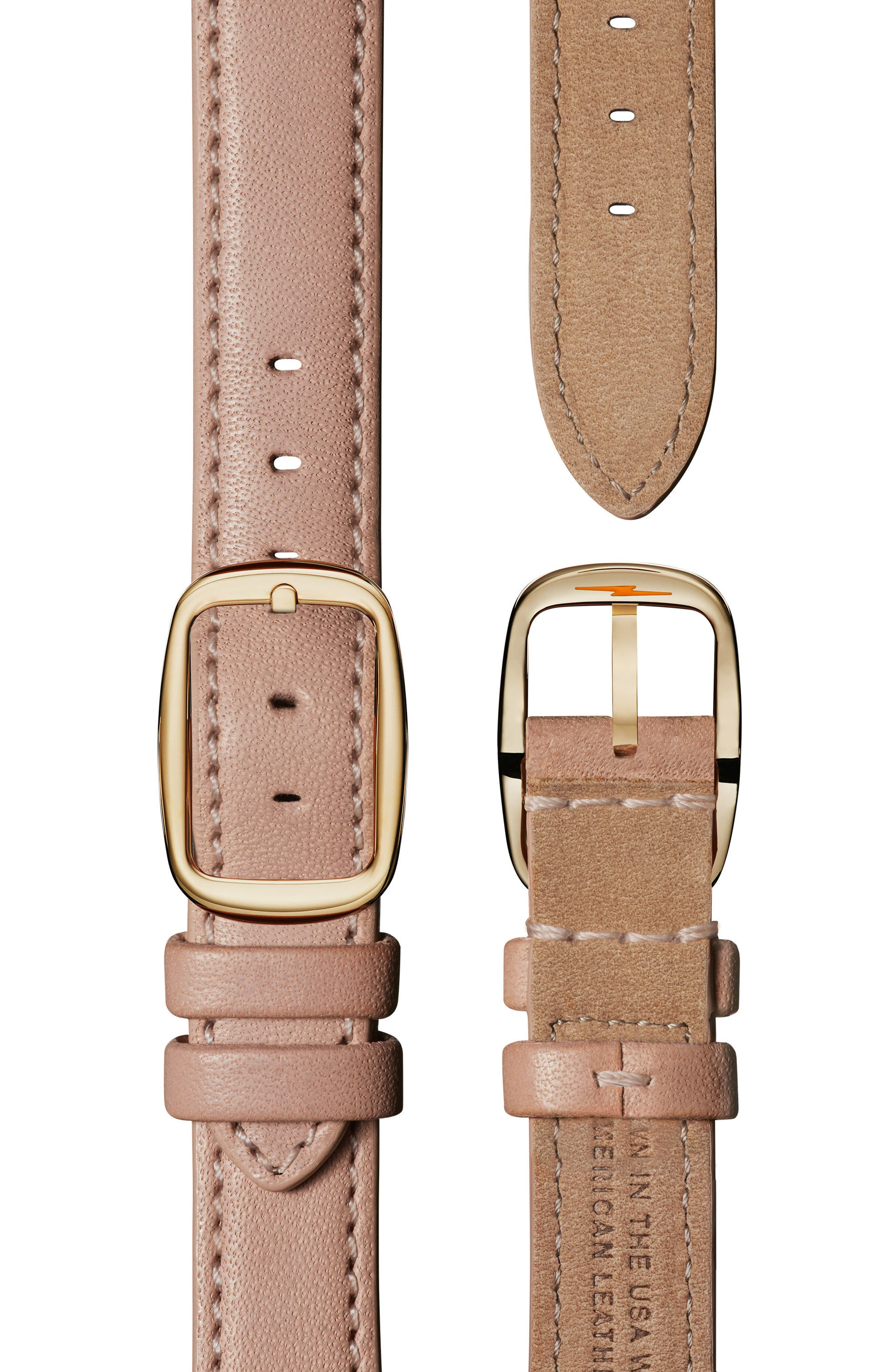 The Canfield Leather Strap Watch, 38mm,                             Alternate thumbnail 4, color,                             BLUSH/ MOP/ GOLD