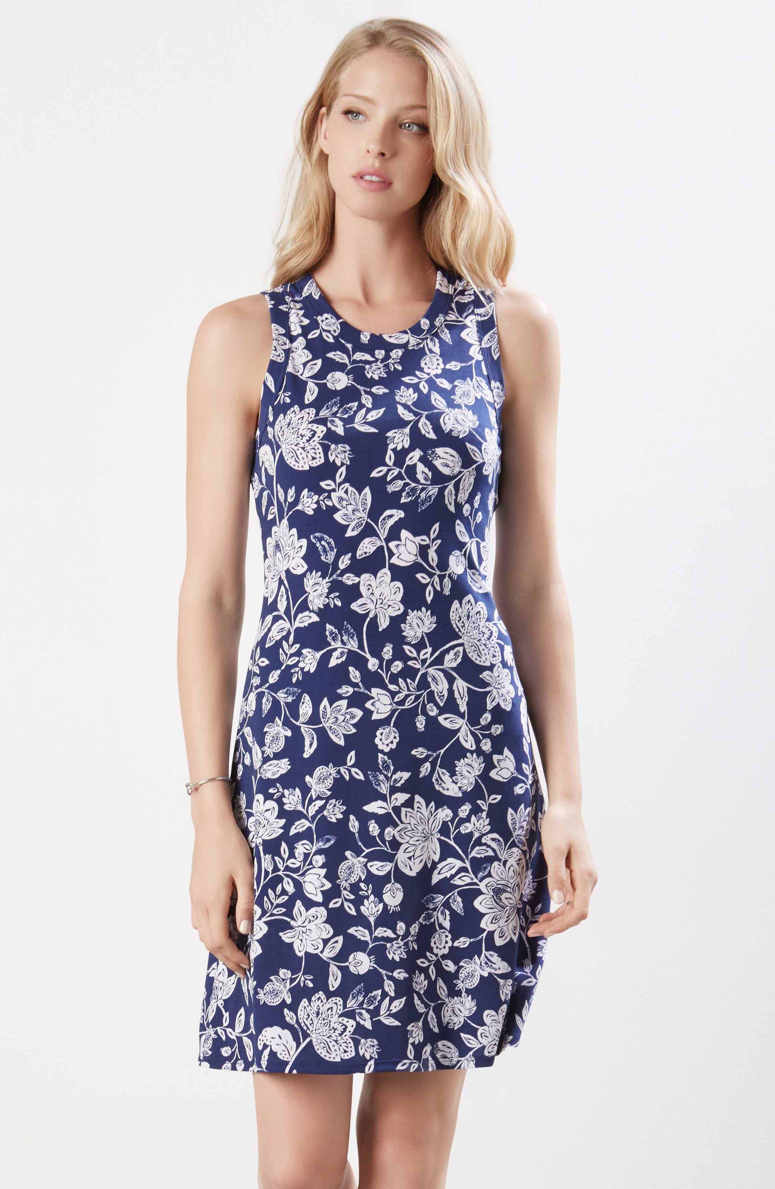 Floral Sleeveless Dress,                             Alternate thumbnail 4, color,                             PRINT