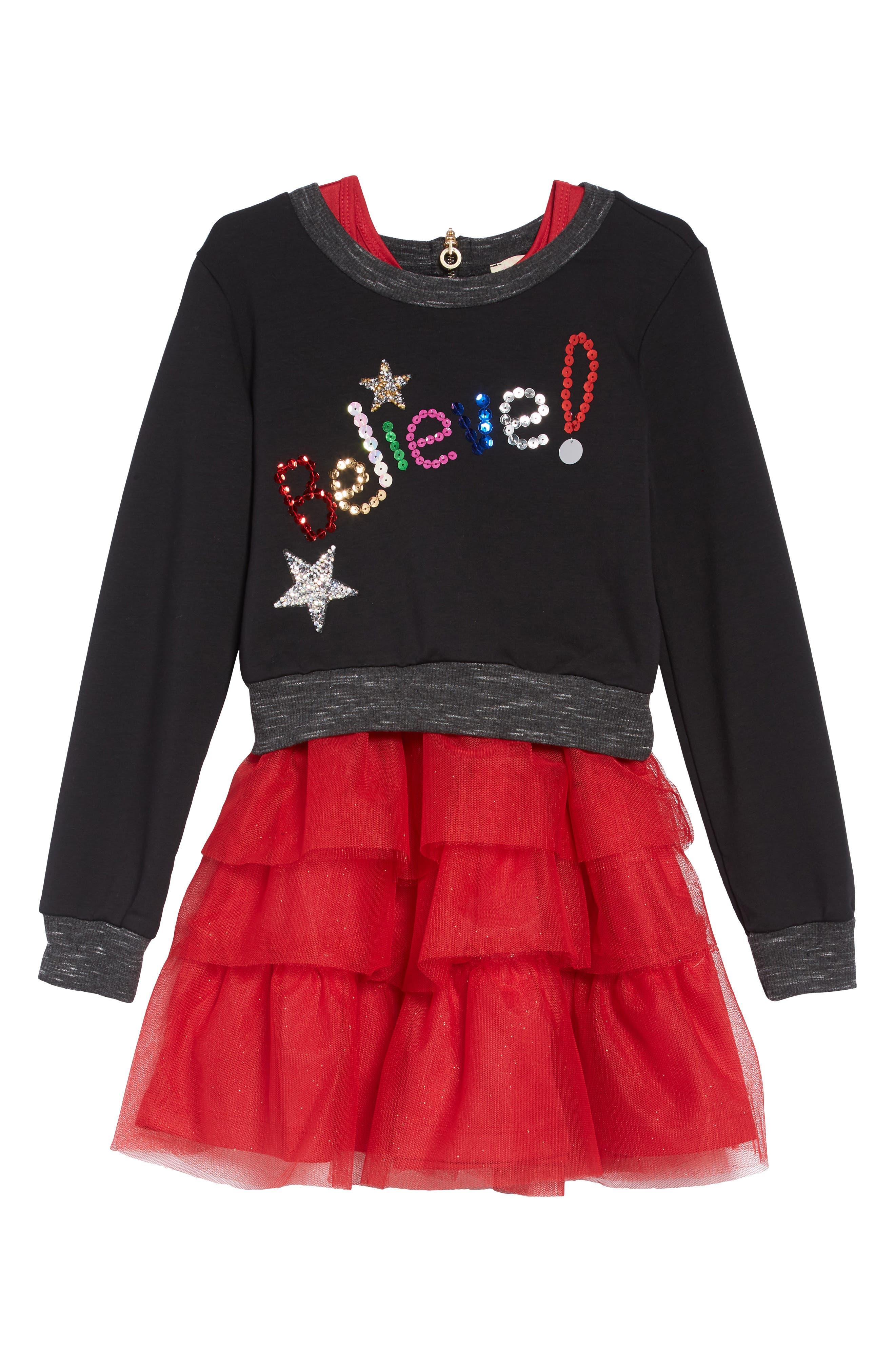 Believe Sequin Appliqué Sweatshirt & Tulle Dress Set,                         Main,                         color, BLACK RED