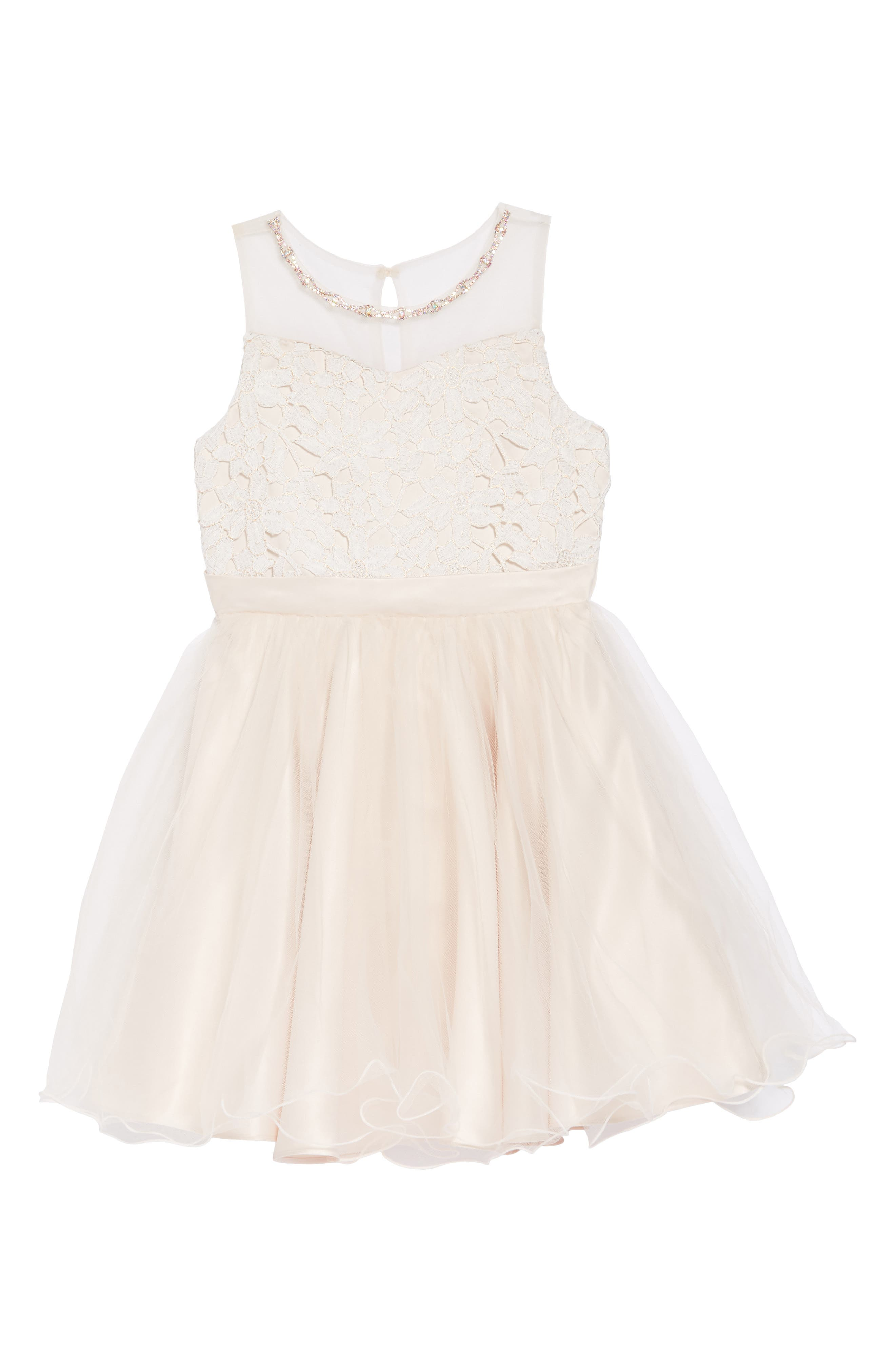 Lace Bodice Tulle Dress,                         Main,                         color, 113
