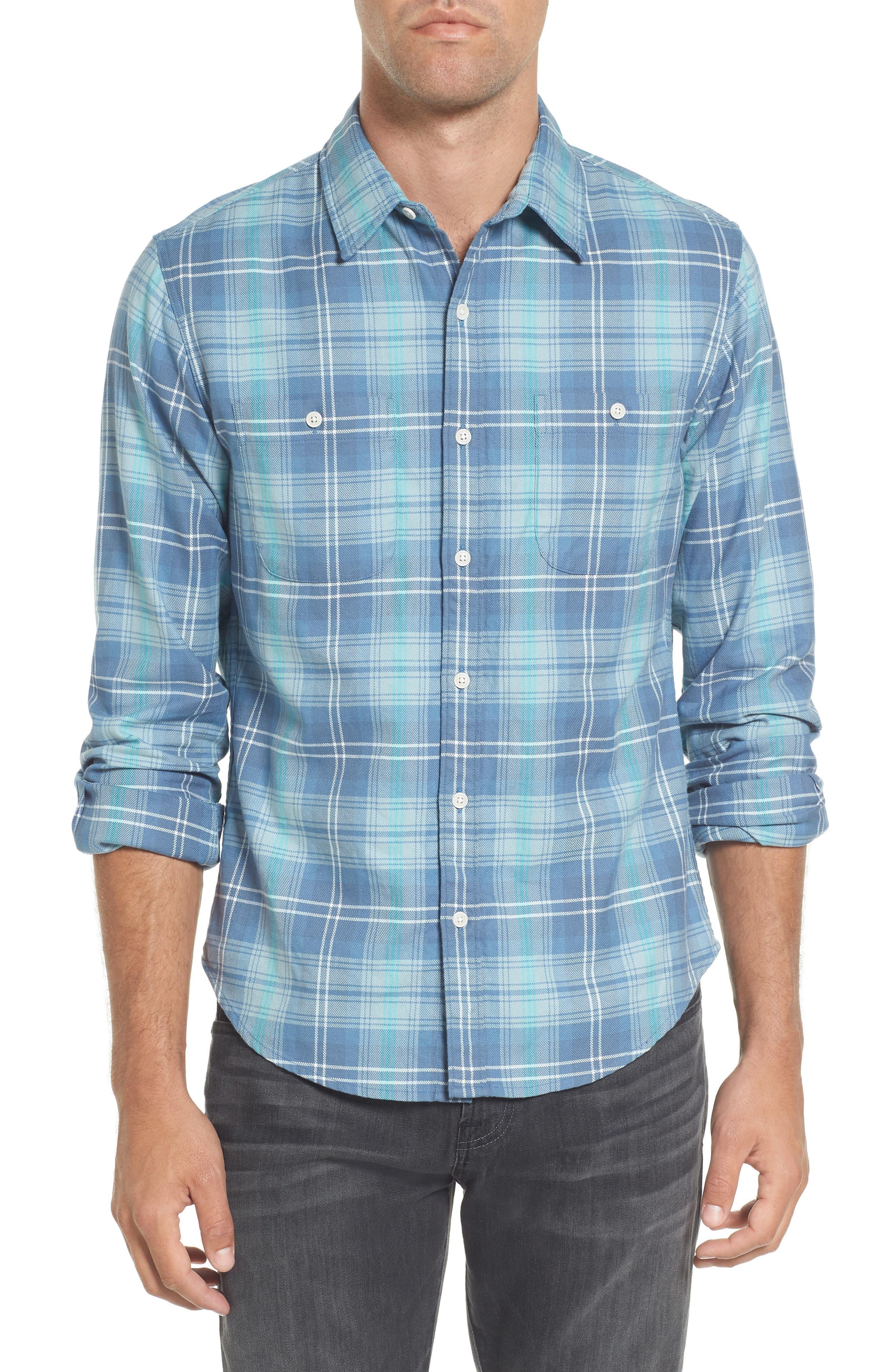 Slim Fit Plaid Flannel Sport Shirt,                         Main,                         color, 400