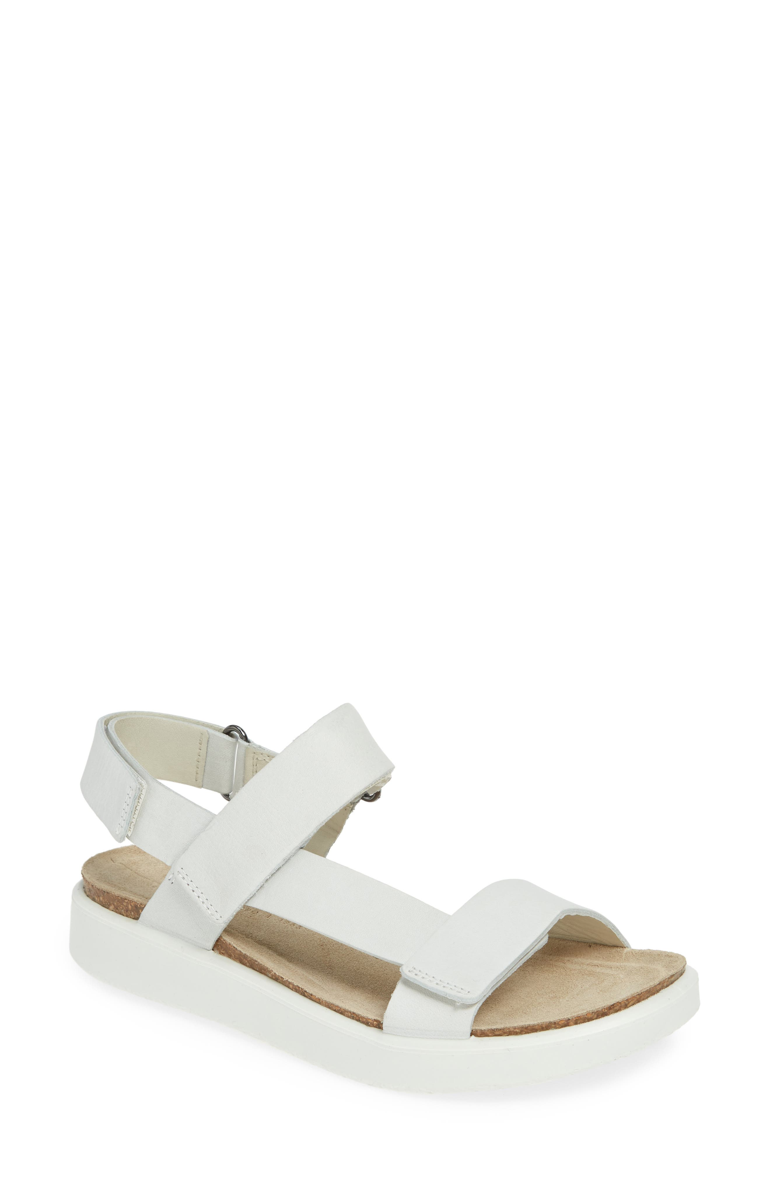UPC 809704946511 product image for Women's Ecco Corksphere Strap Sandal, Size 7-7.5US / 38EU - White | upcitemdb.com