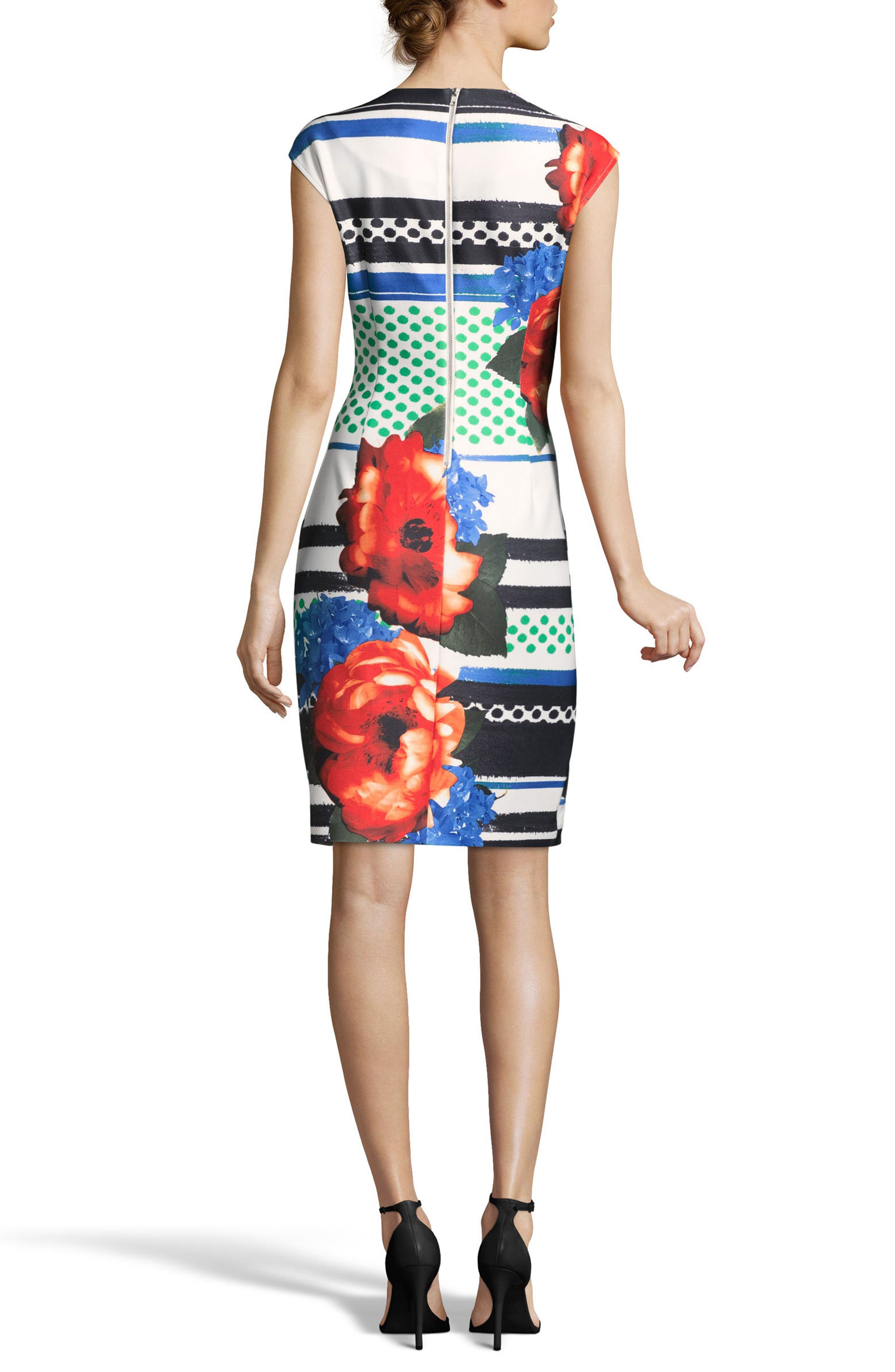 Placement Print Sheath Dress,                             Alternate thumbnail 2, color,                             BLACK/ WHITE/ RED