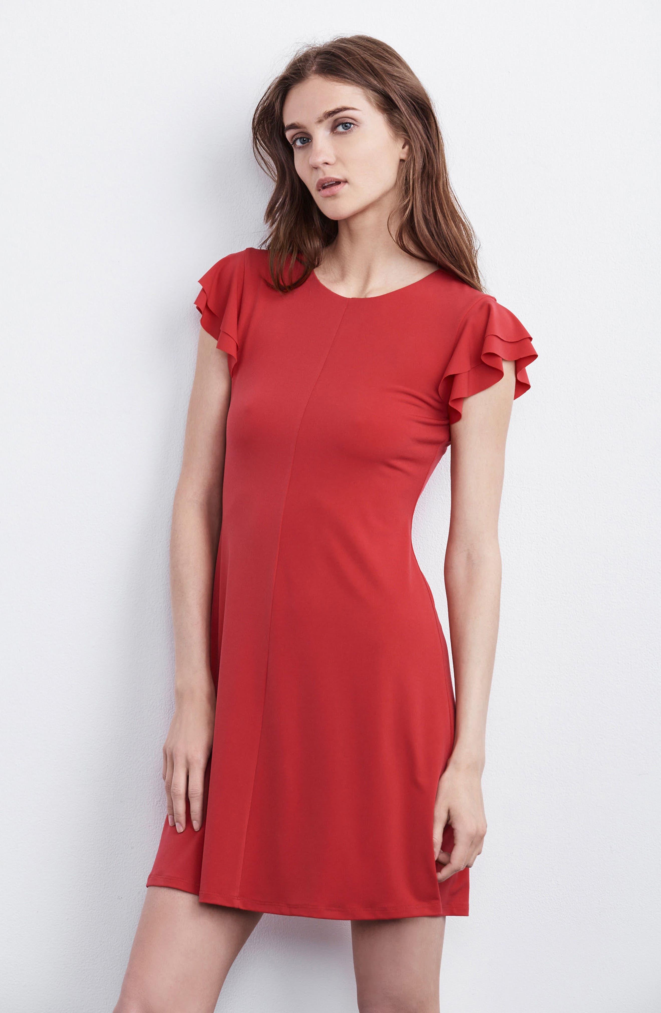 Flutter Sleeve Stretch Jersey Dress,                             Alternate thumbnail 8, color,