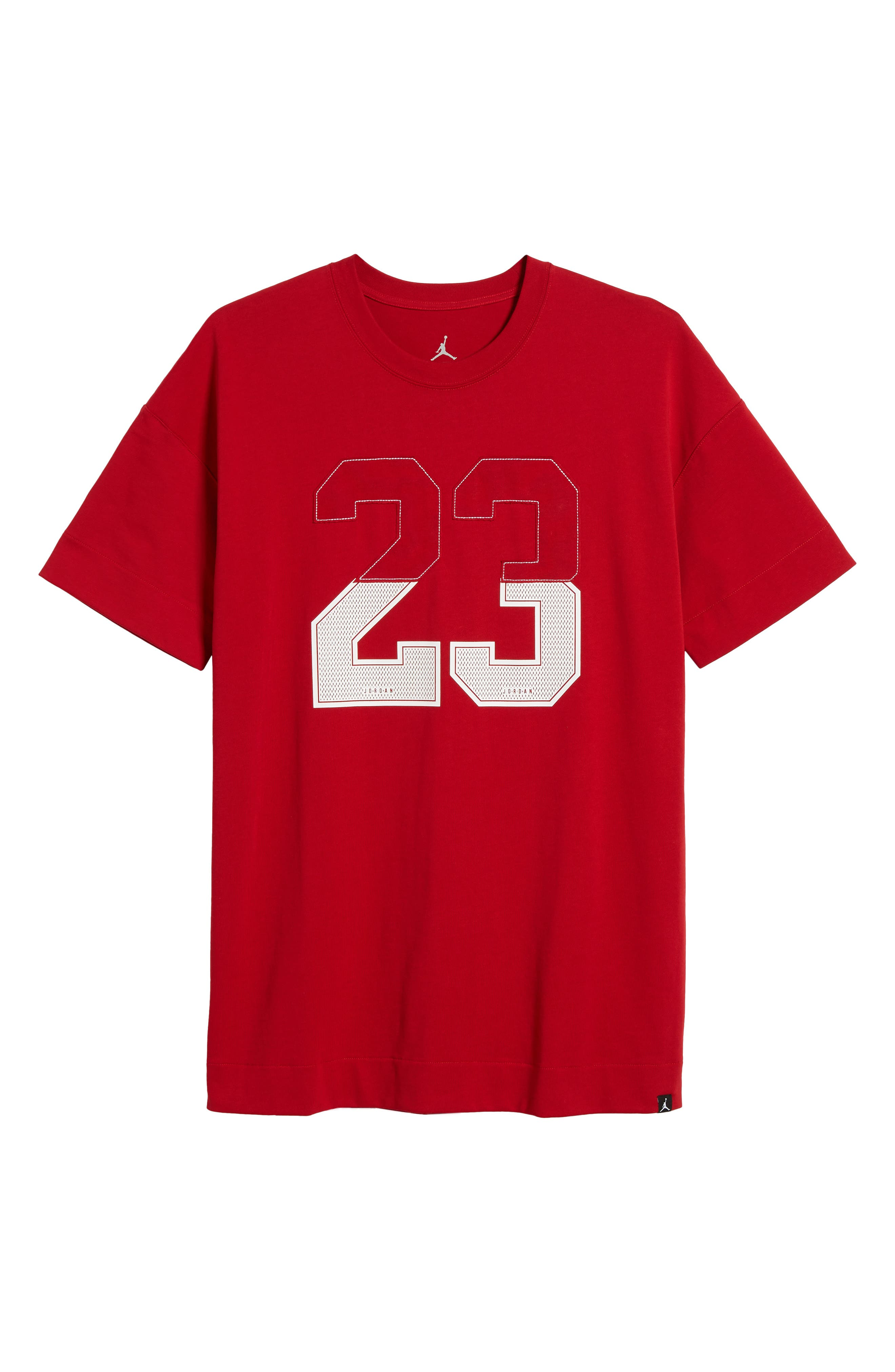 Nike Oversize 23 Graphic T-Shirt,                             Alternate thumbnail 6, color,                             GYM RED/ WHITE