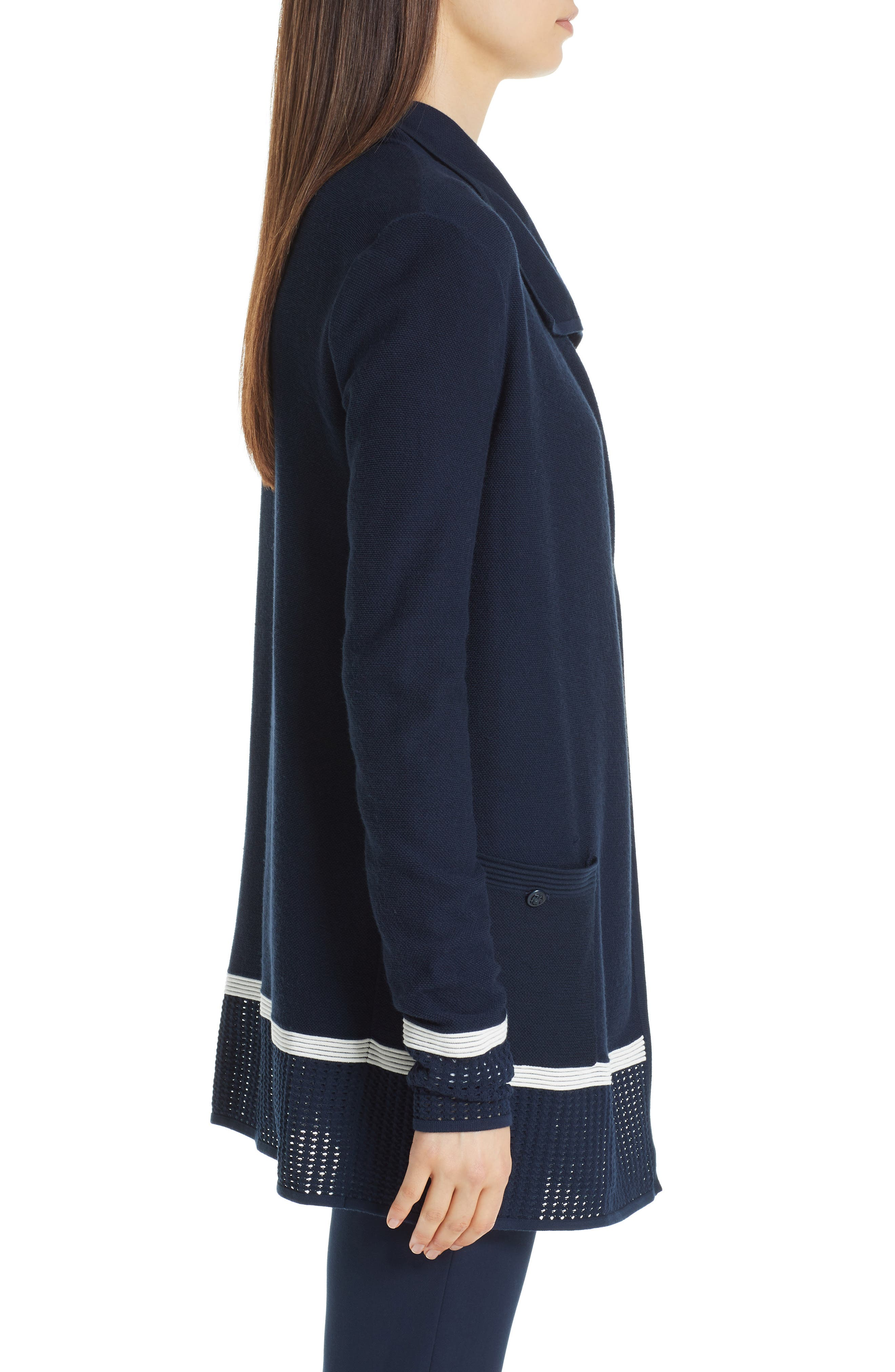 ST. JOHN COLLECTION,                             Mesh Trim Cardigan,                             Alternate thumbnail 3, color,                             NAVY/ CREAM