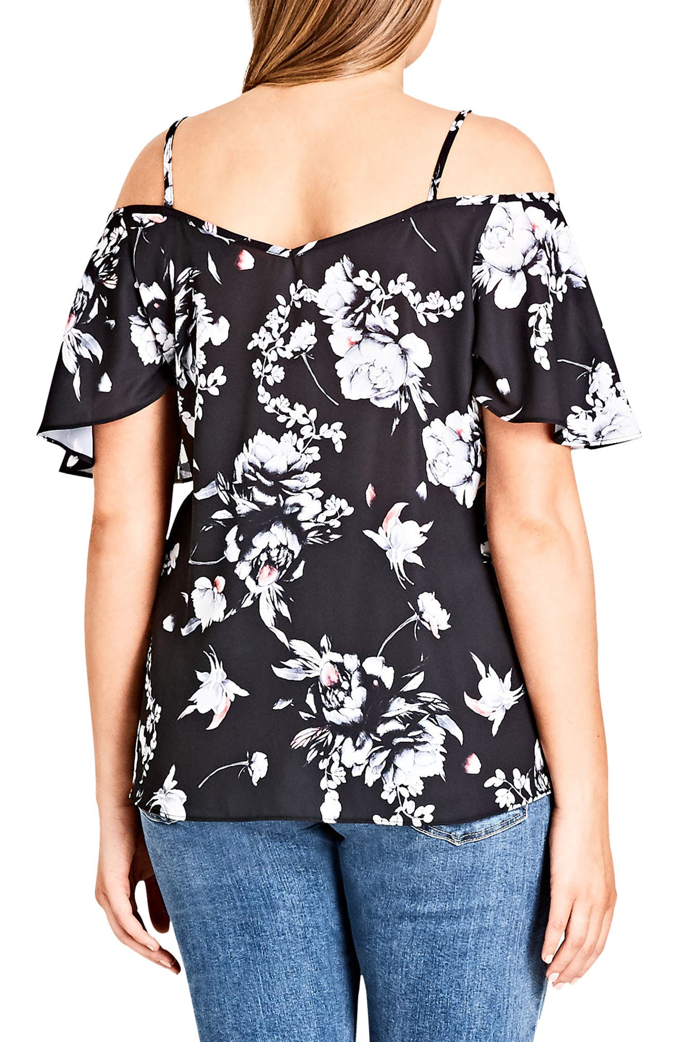 CITY CHIC,                             Flower Time Cold Shoulder Top,                             Alternate thumbnail 2, color,                             FLOWER TIME