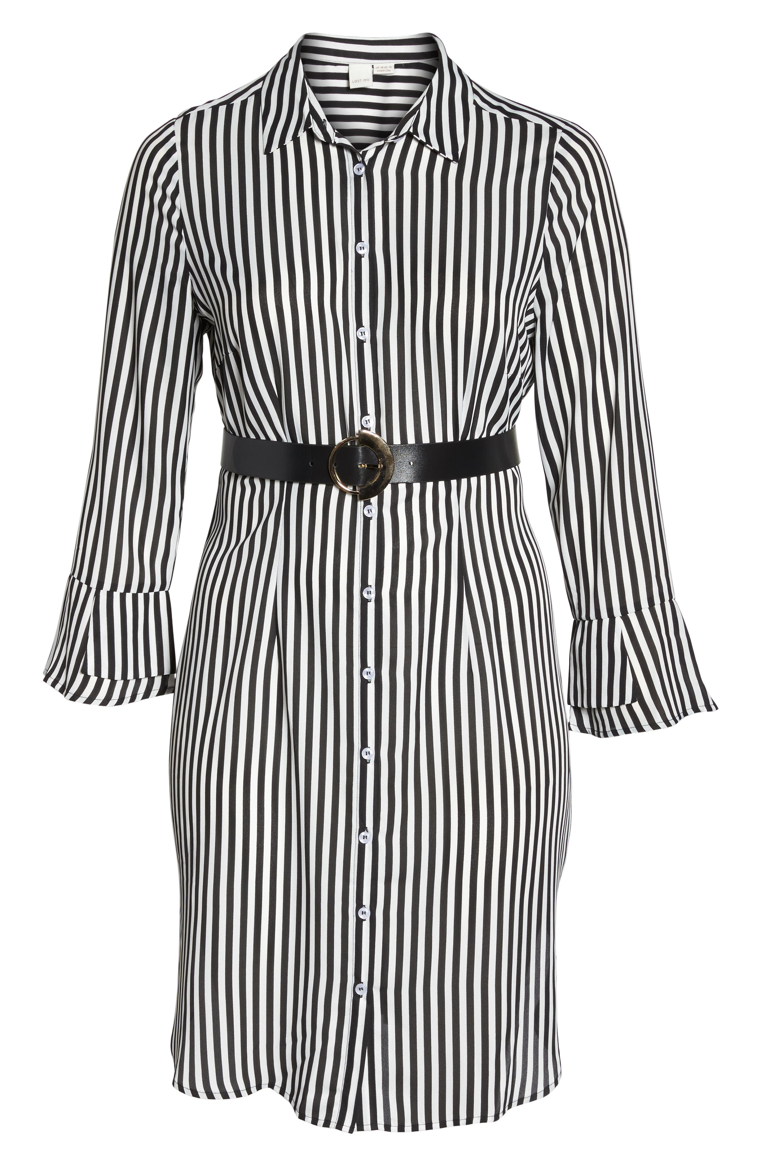 Belted Stripe Shirtdress,                             Alternate thumbnail 6, color,                             161