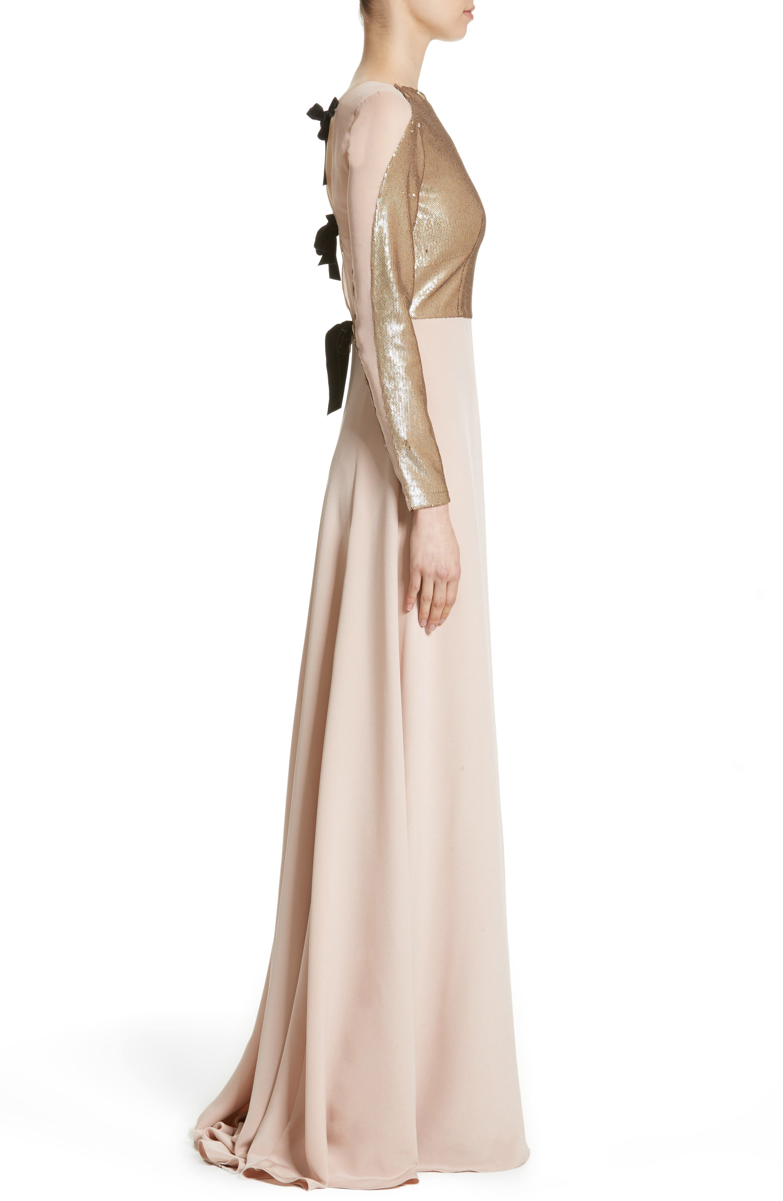 Sequin Front A-Line Silk Gown,                             Alternate thumbnail 3, color,                             650
