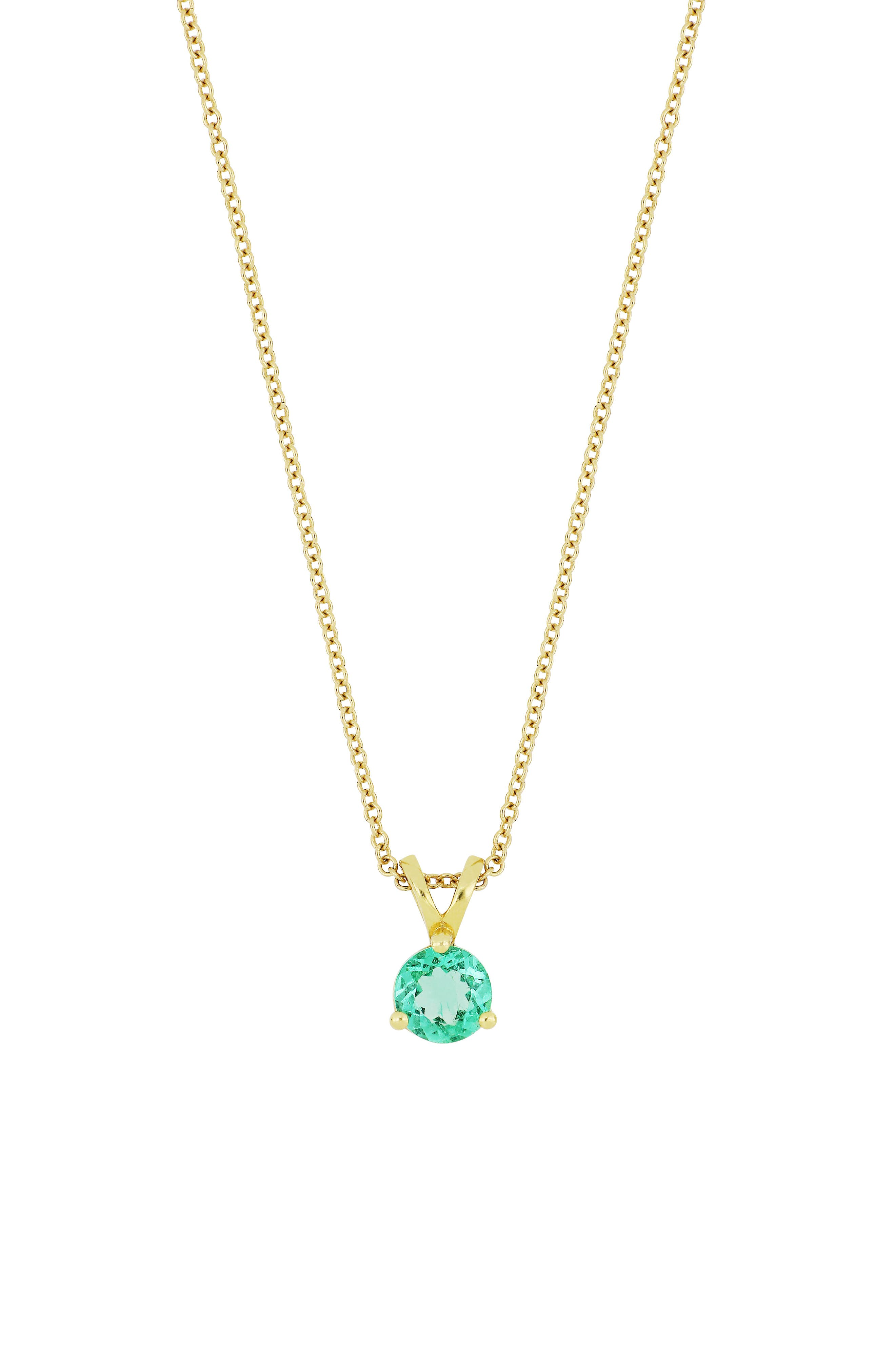 Emerald Pendant Necklace,                             Main thumbnail 1, color,                             GOLD/ EMERALD