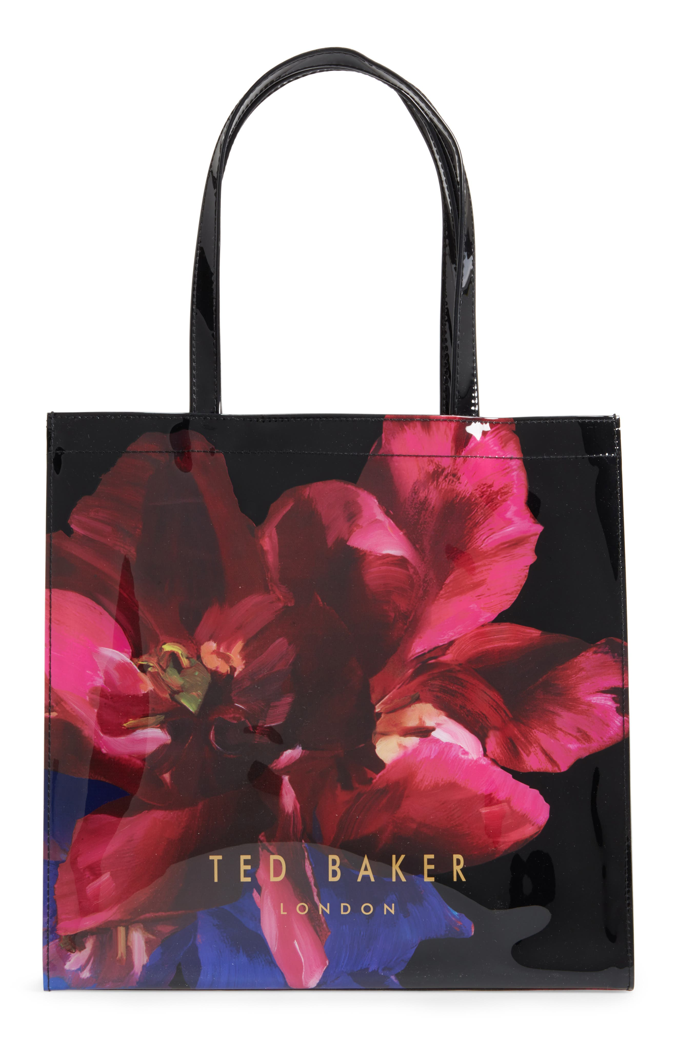 Large Icon - Impressionist Bloom Tote,                             Alternate thumbnail 3, color,                             001