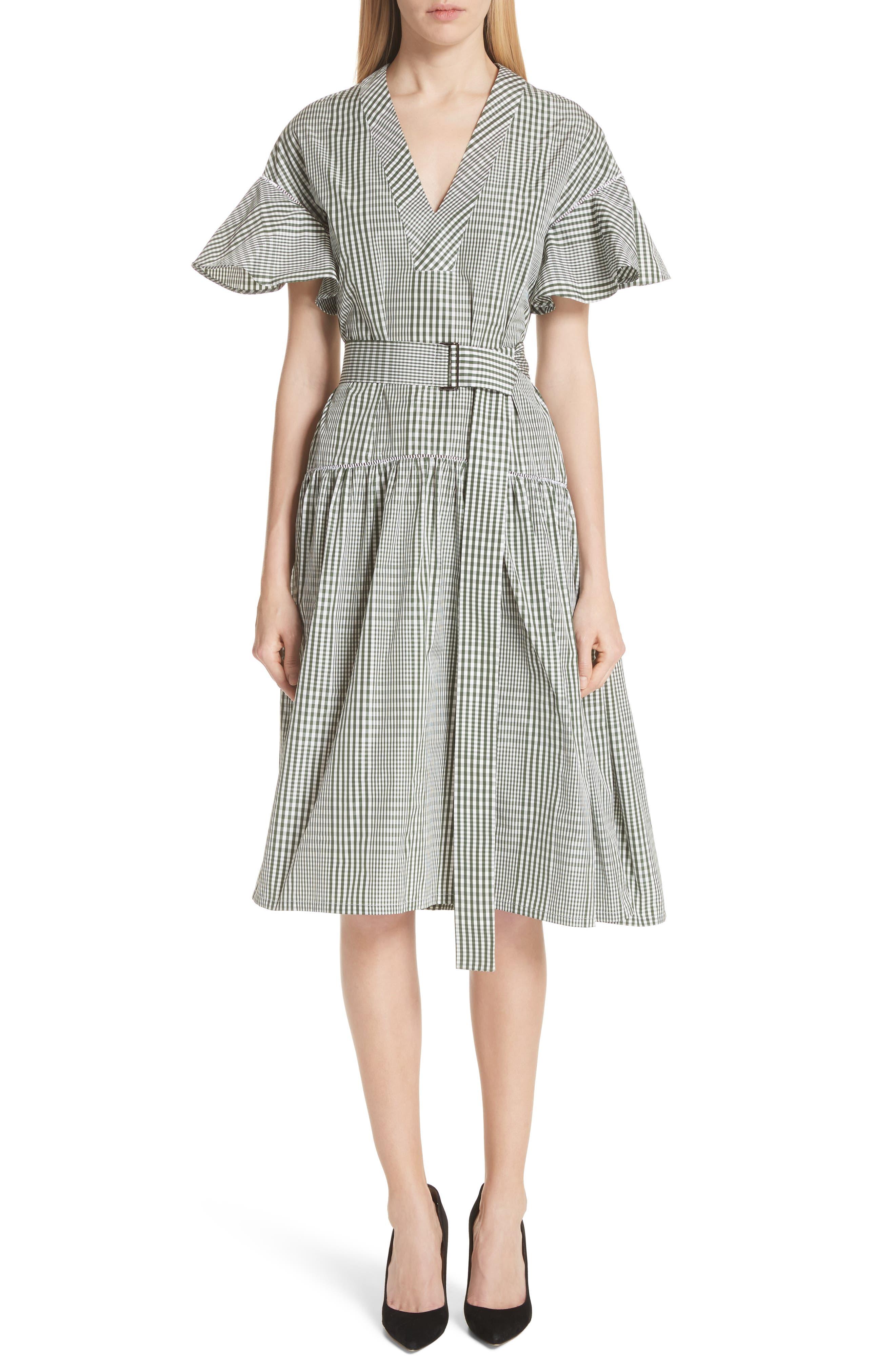 Lela Rose Glen Plaid Flutter Sleeve Dress, Green