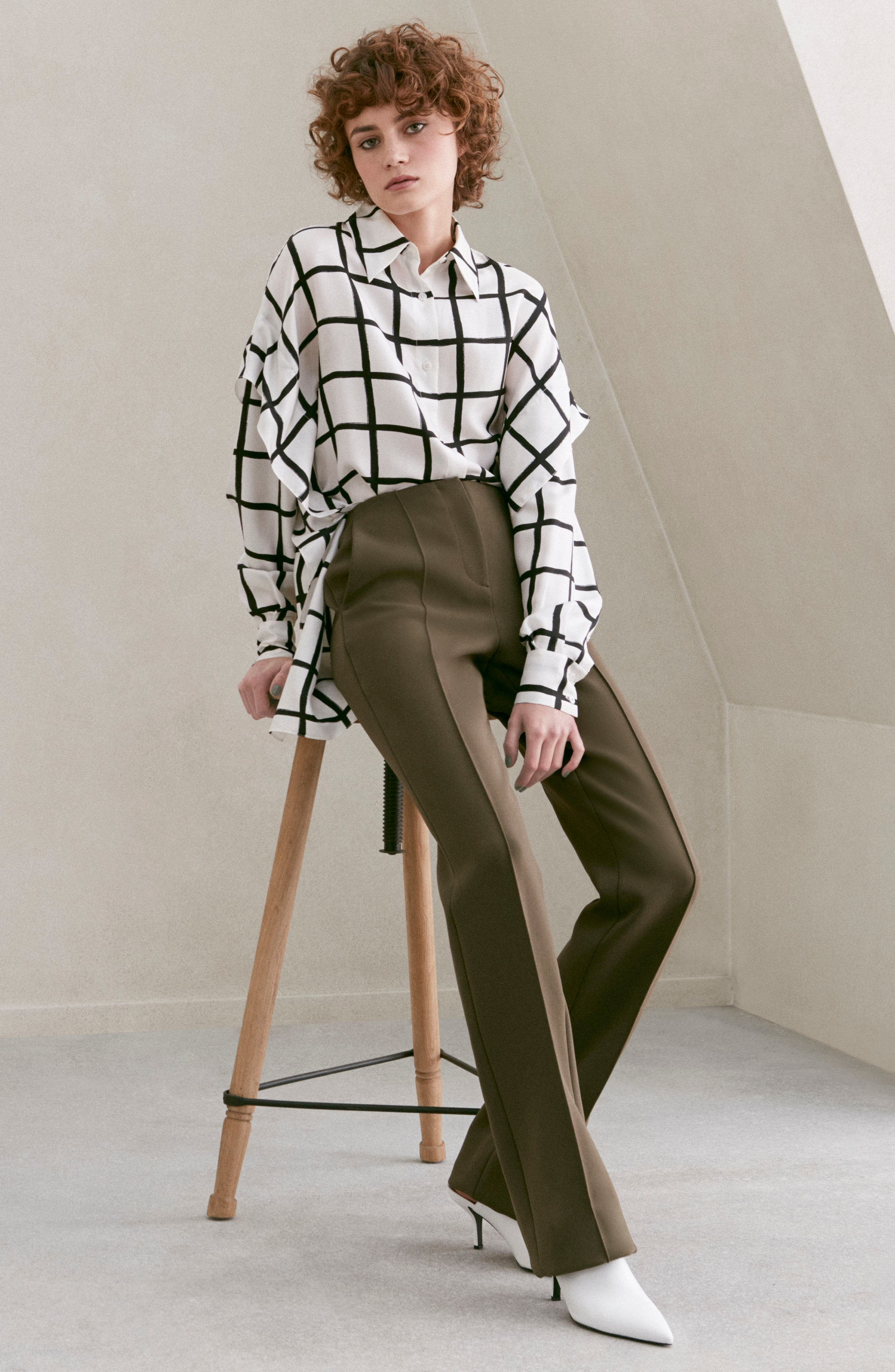 Diane von Furstenberg Windowpane Plaid Button Down Silk Shirt,                             Alternate thumbnail 7, color,                             178