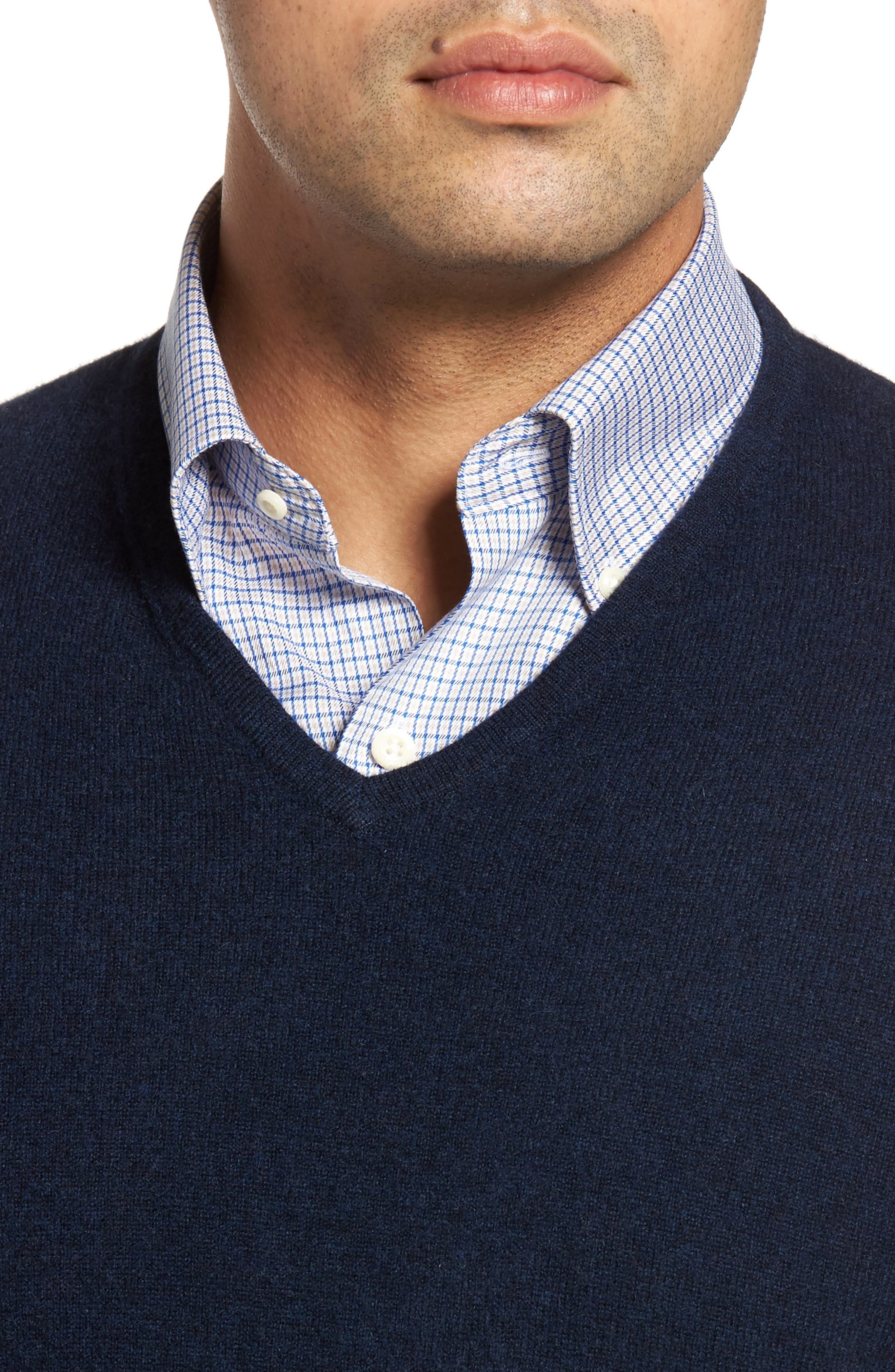 John W. Nordstrom Cashmere V-Neck Sweater,                             Alternate thumbnail 5, color,                             BLUE ESTATE HEATHER