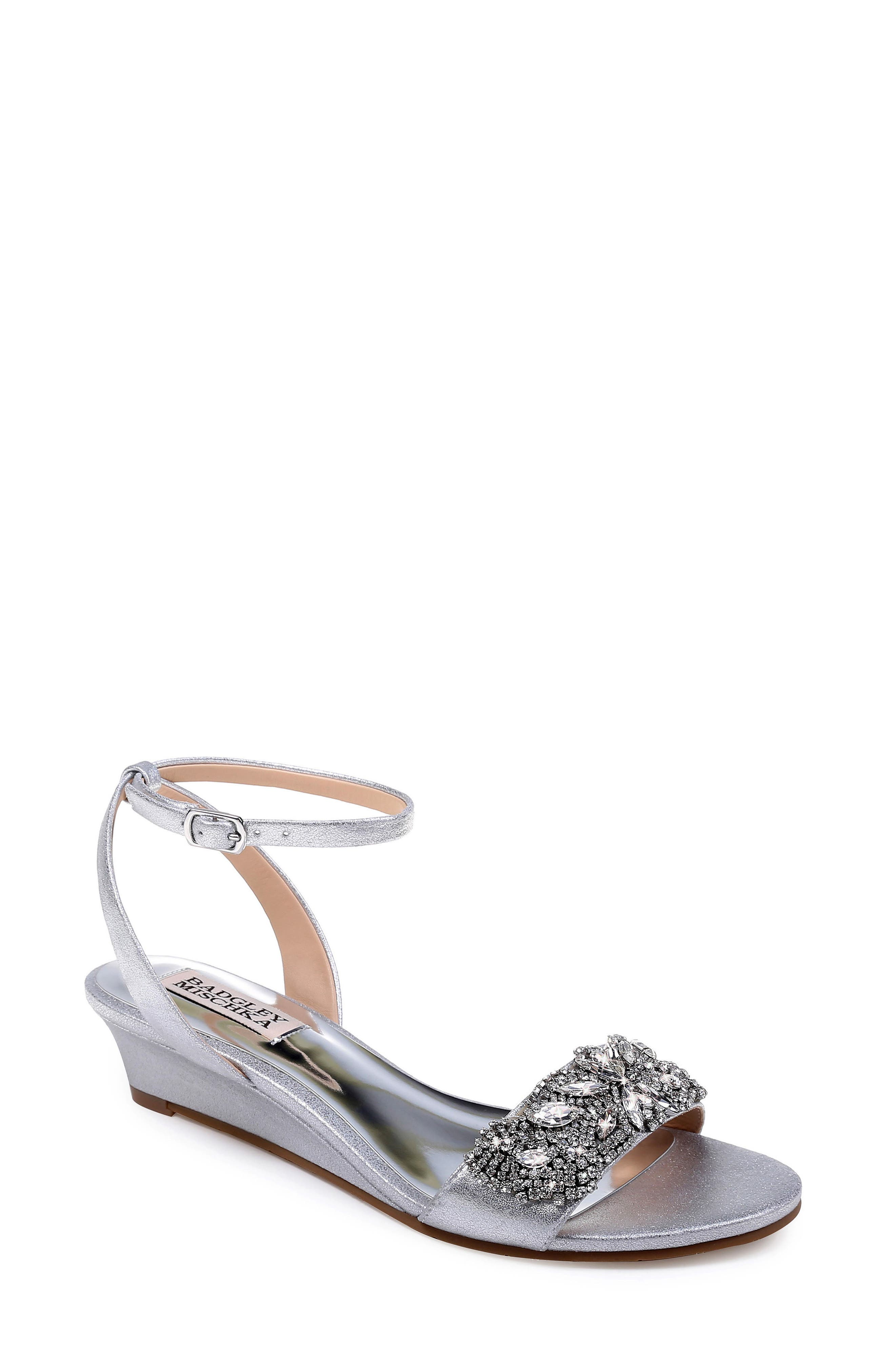 Badgley Mischka Hatch Crystal Embellished Sandal- Metallic