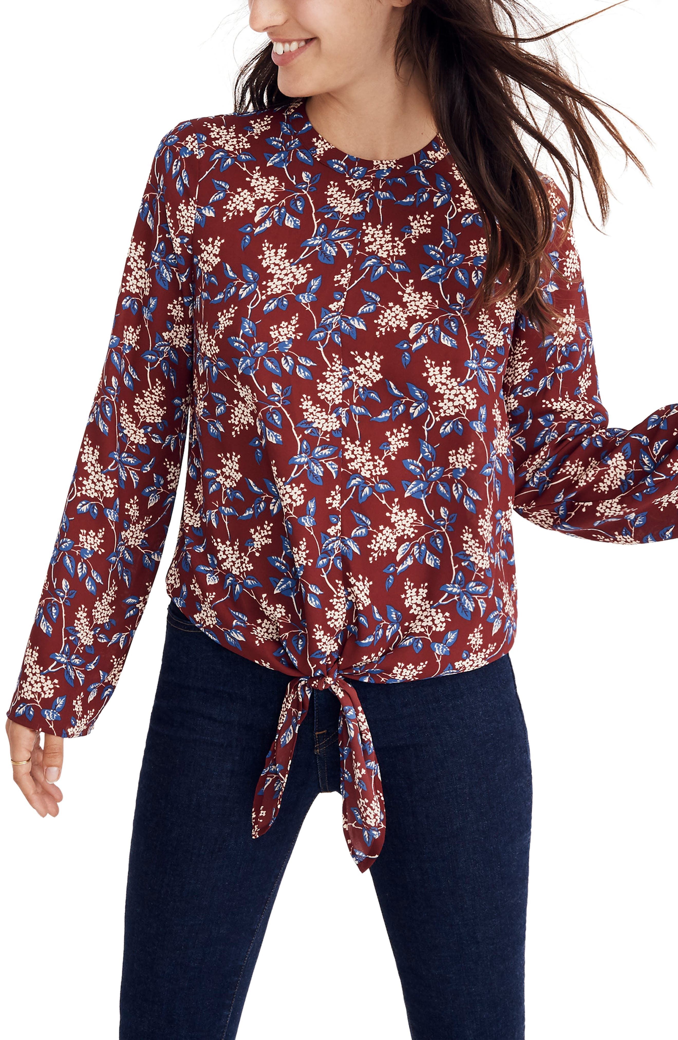 Bell Sleeve Tie Top,                             Main thumbnail 1, color,                             DUSTY BURG