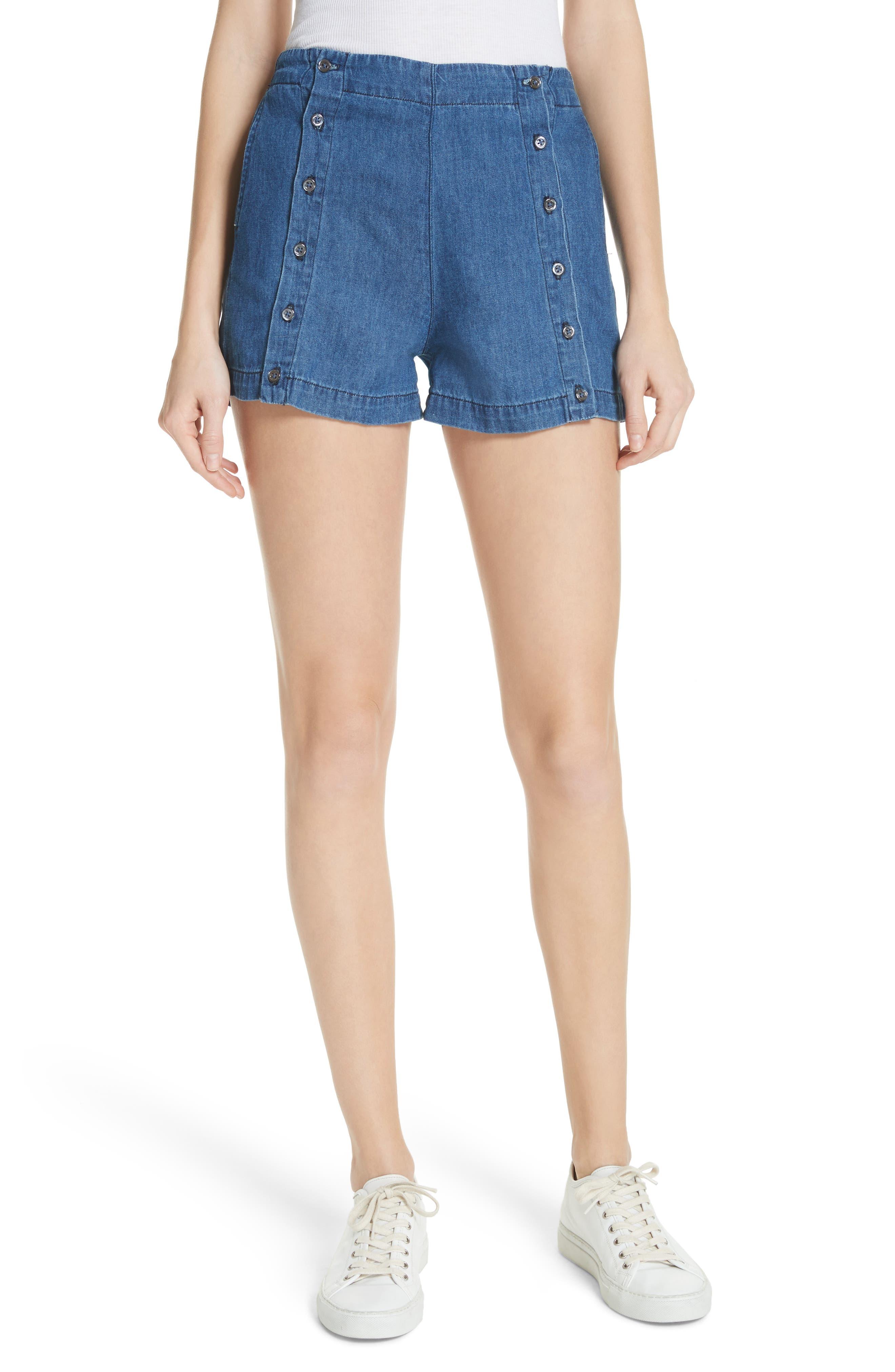 Amy Button Front Denim Shorts,                         Main,                         color, ABELLA SHORT