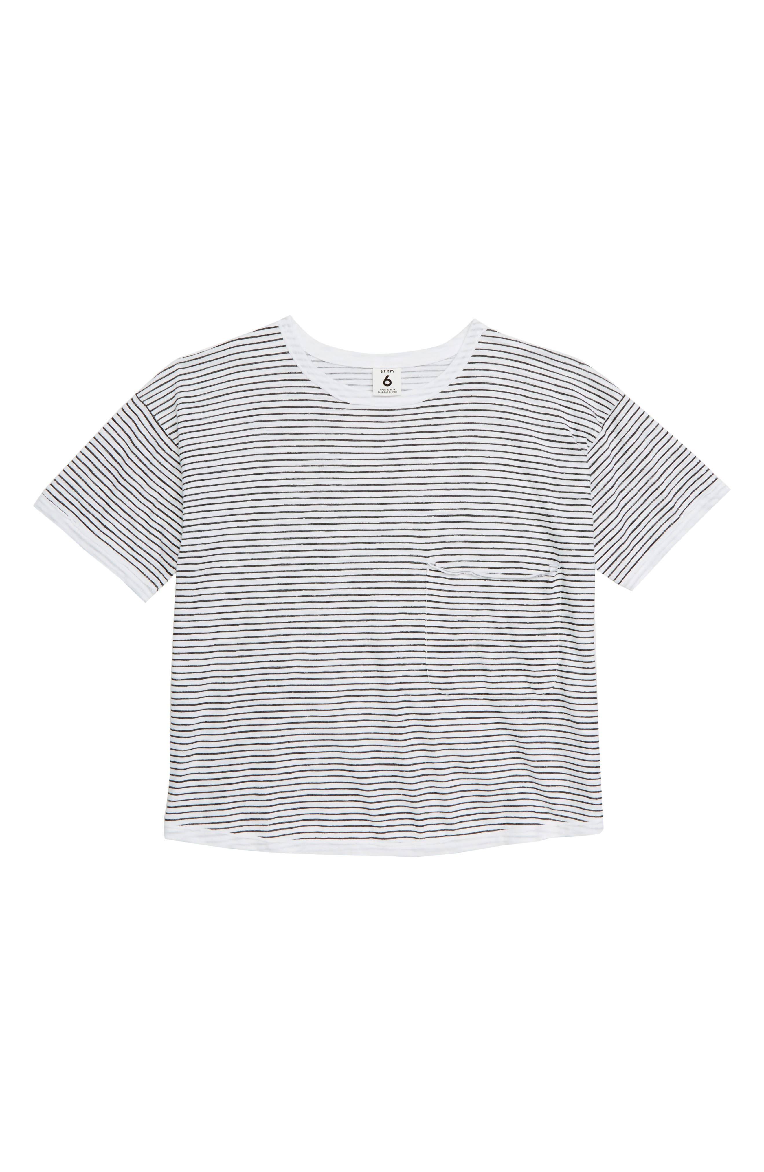 Painted Stripe T-Shirt,                             Main thumbnail 1, color,                             WHITE- GREY PAINTED STRIPE