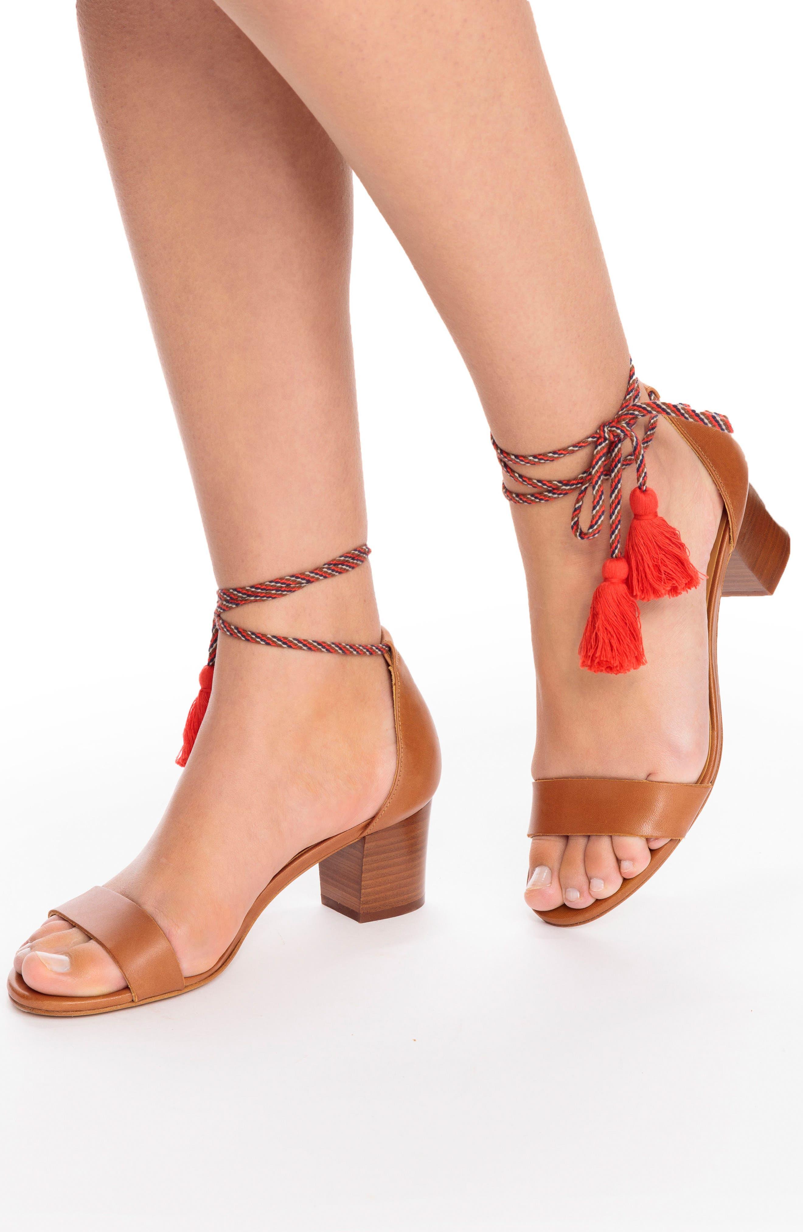 Lorenzo Ankle Wrap Block Heel Sandal,                             Alternate thumbnail 5, color,                             CAMEL LEATHER