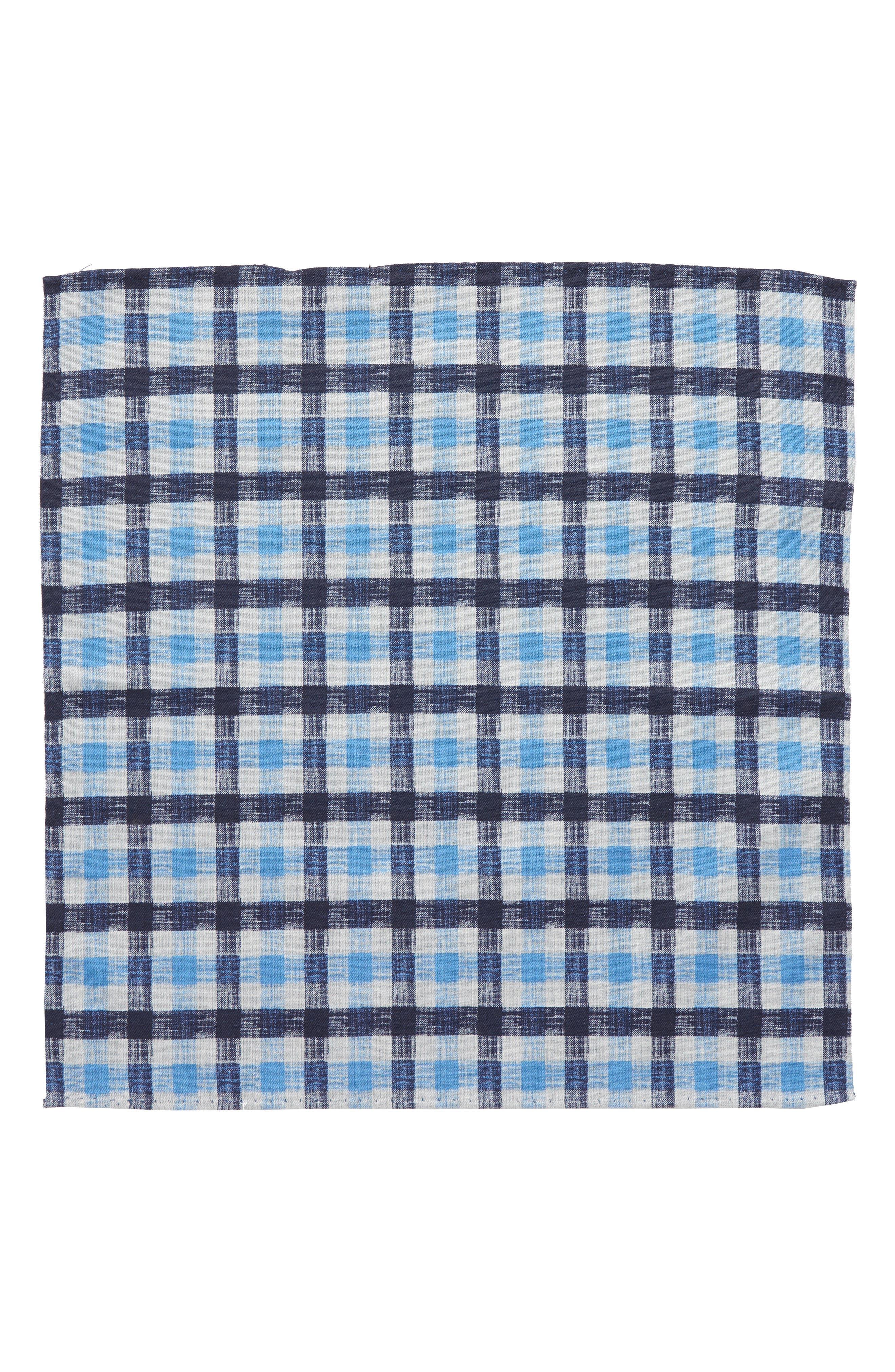 NORDSTROM MEN'S SHOP,                             Check Silk Pocket Square,                             Alternate thumbnail 2, color,                             400