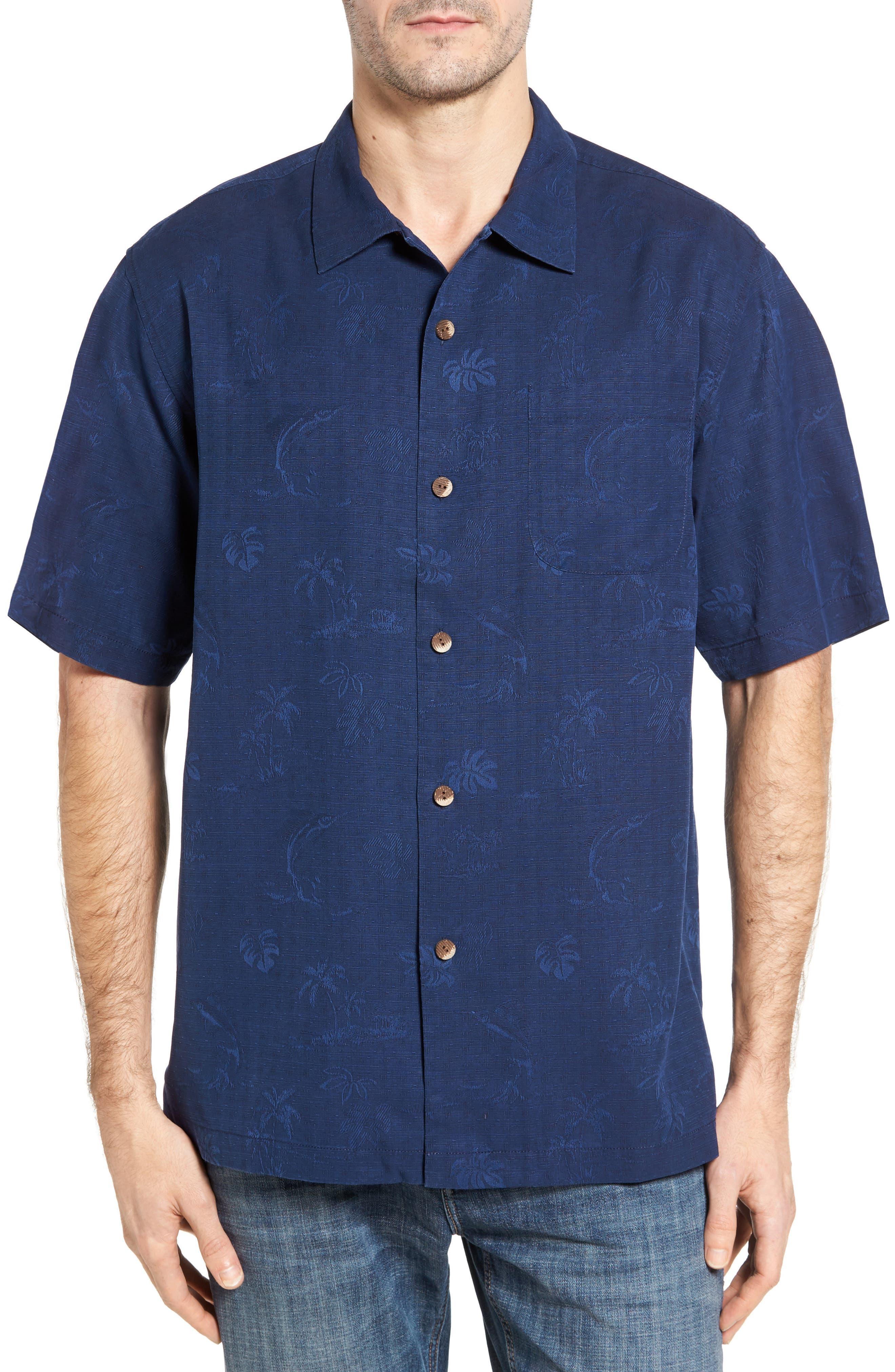 Gulf Shore Marlin Silk Camp Shirt,                             Main thumbnail 4, color,