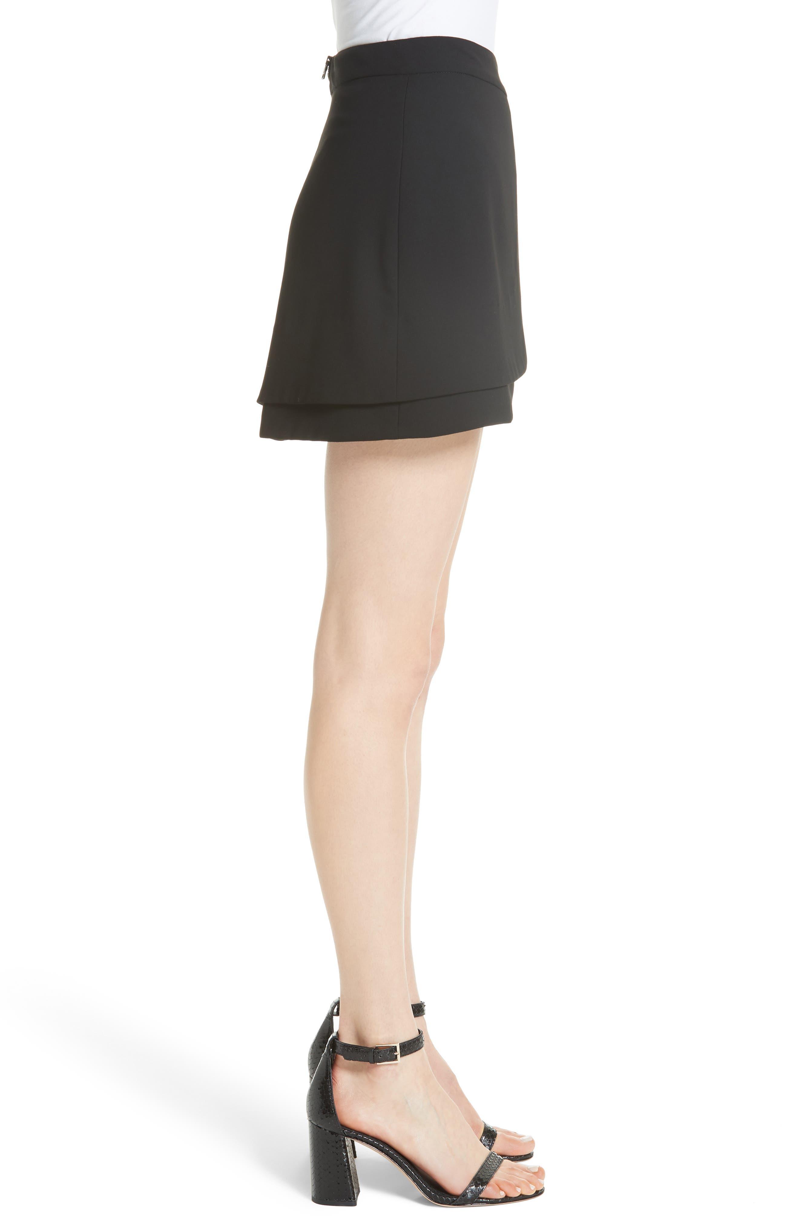 Nicolina Layered Tulip Miniskirt,                             Alternate thumbnail 3, color,                             BLACK