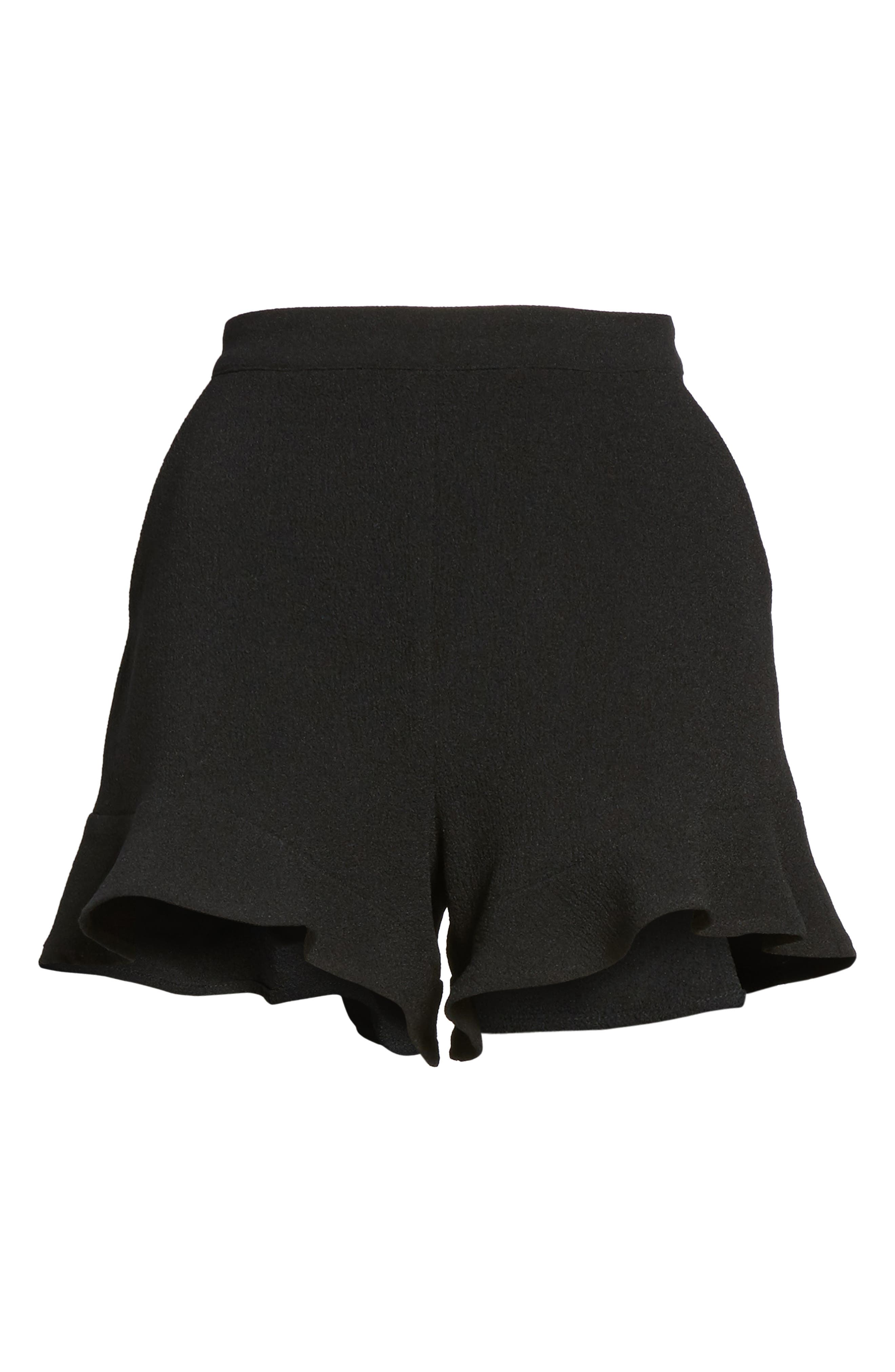 Ruffle Hem Shorts,                             Alternate thumbnail 6, color,                             001
