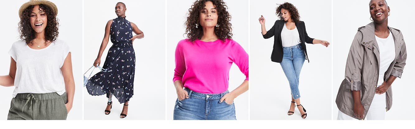 Plus-size new arrivals, dresses, tops, jeans and coats and blazers.