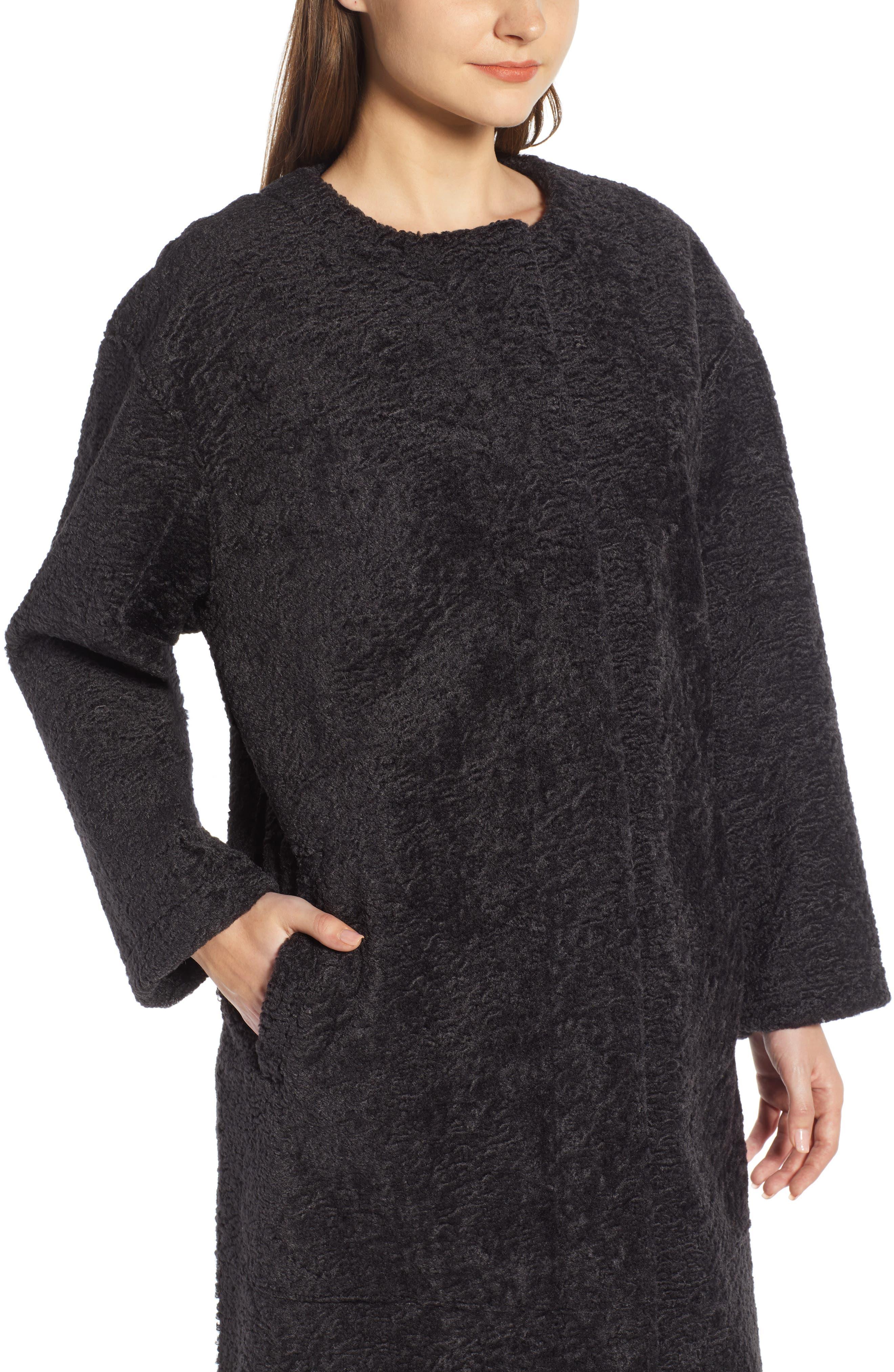 Long Faux Shearling Coat,                             Alternate thumbnail 4, color,                             GREY PHANTOM