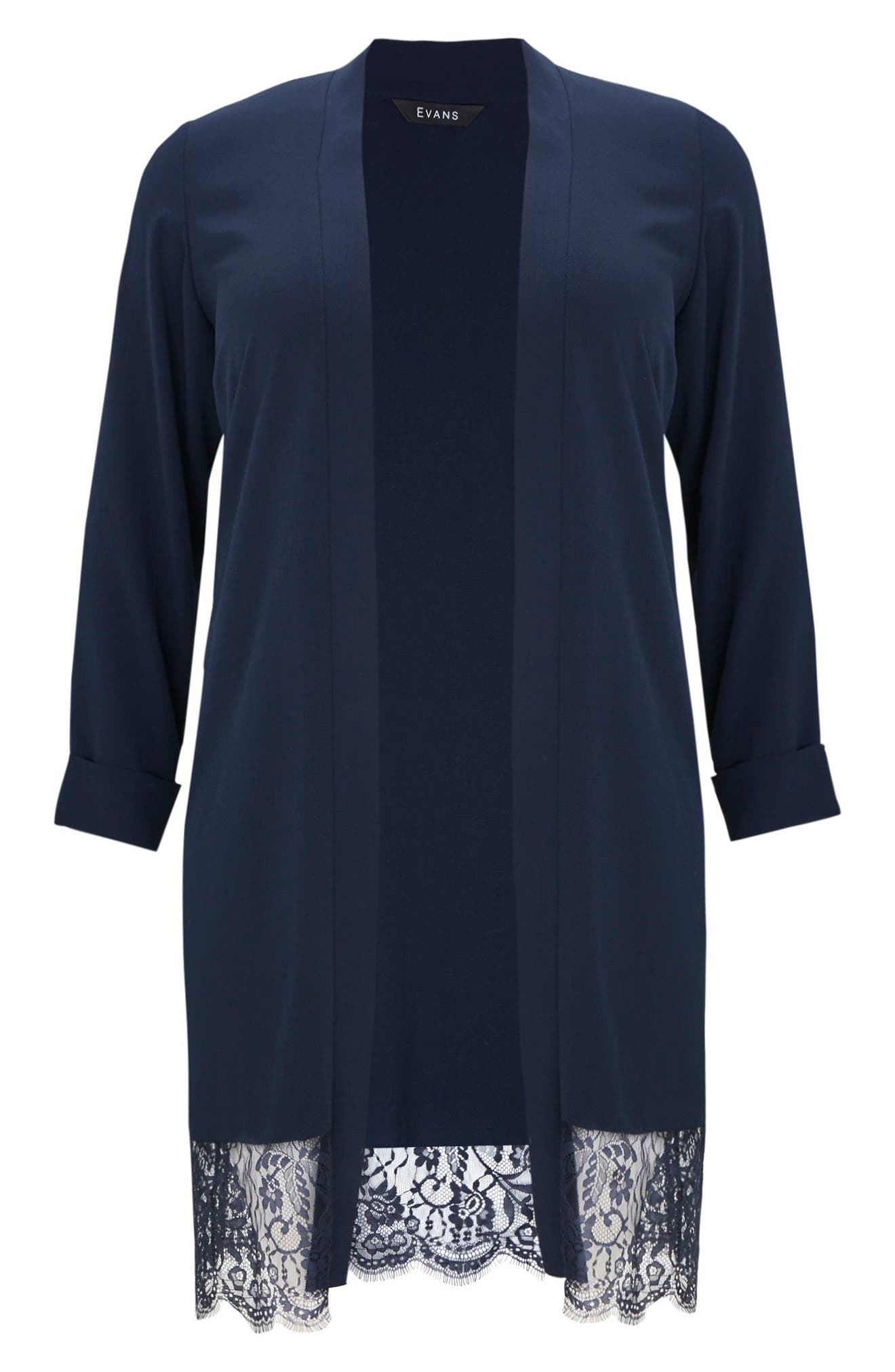 Lace Trim Kimono Jacket,                             Alternate thumbnail 5, color,                             NAVY