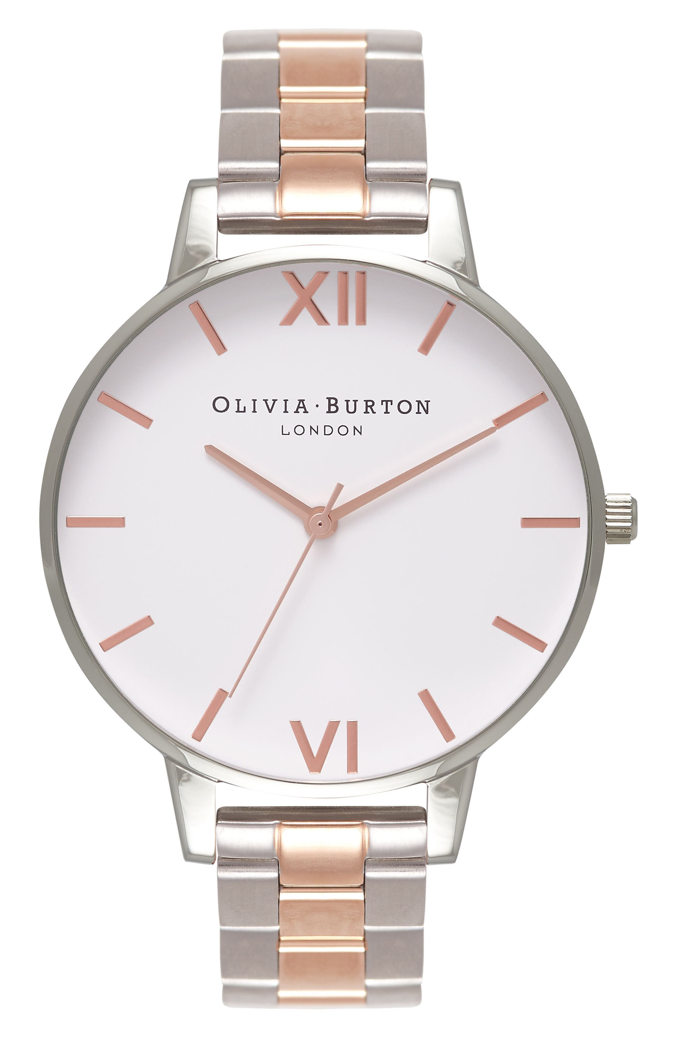 OLIVIA BURTON,                             Big Dial Bracelet Watch, 38mm,                             Main thumbnail 1, color,                             ROSE GOLD/ SILVER