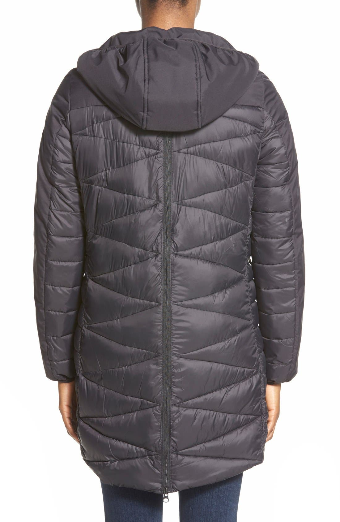Zip Back Zigzag Quilted Jacket,                             Alternate thumbnail 3, color,                             001